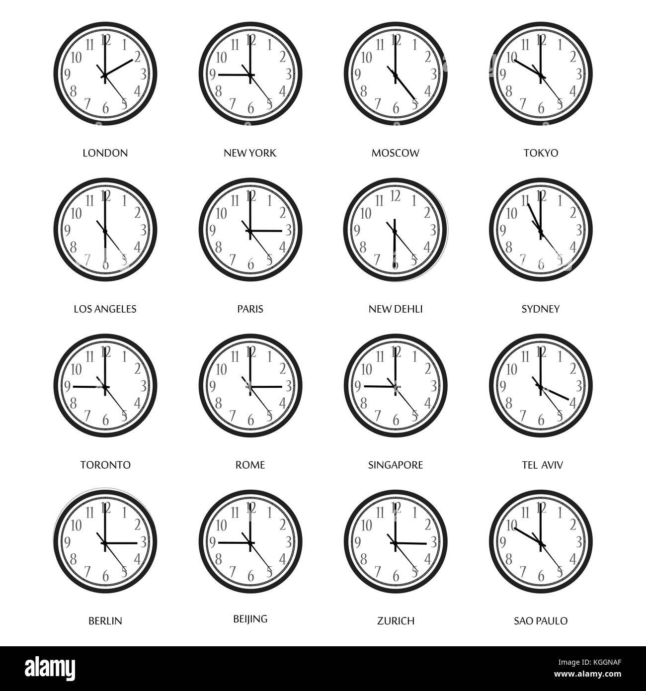 Vector illustration set, collection wall clock with time zones. London, Moscow, Berlin, New York, Tel Aviv - Stock Image