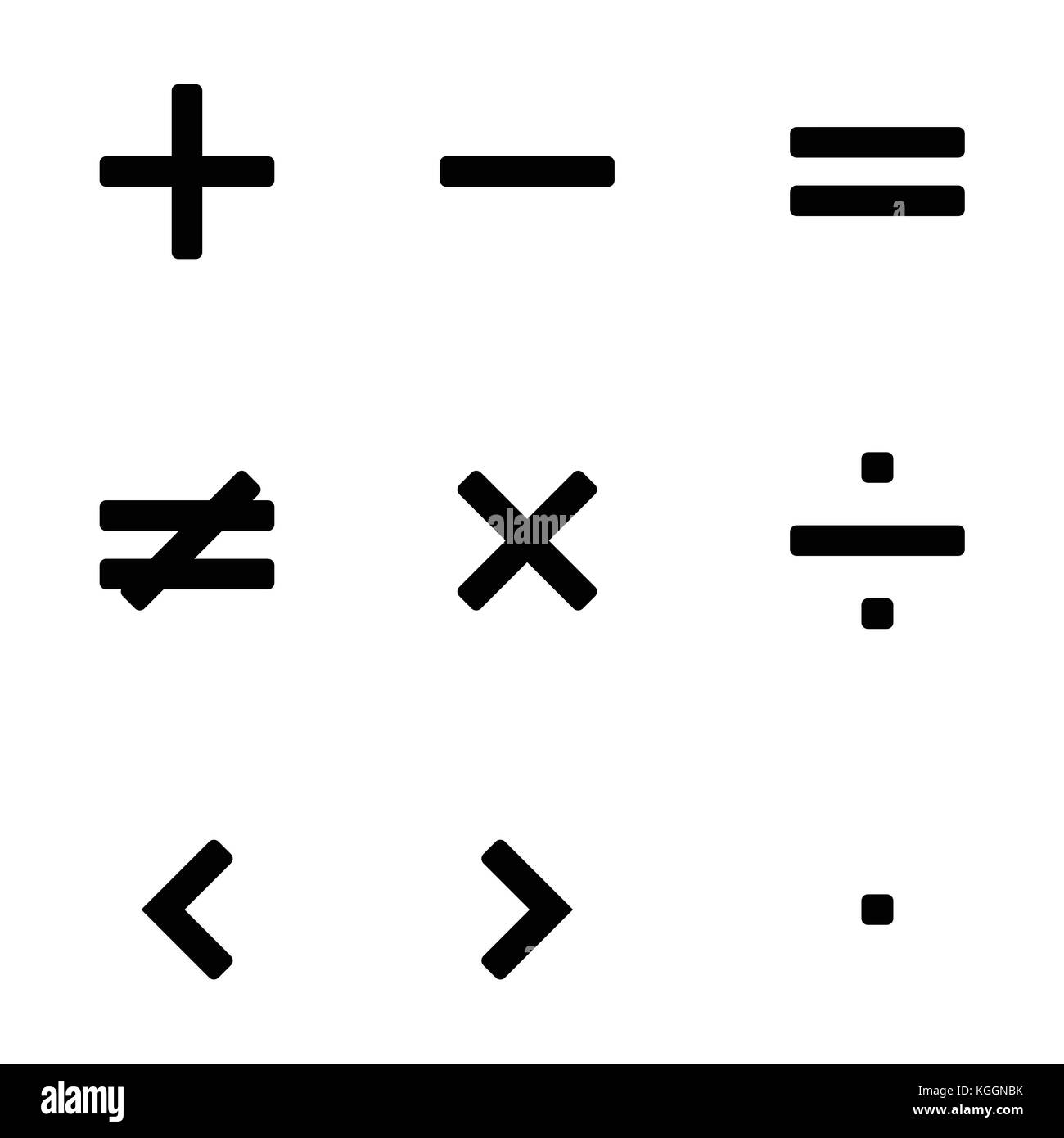 Vector illustration simple math symbols, signs set, collection in ...