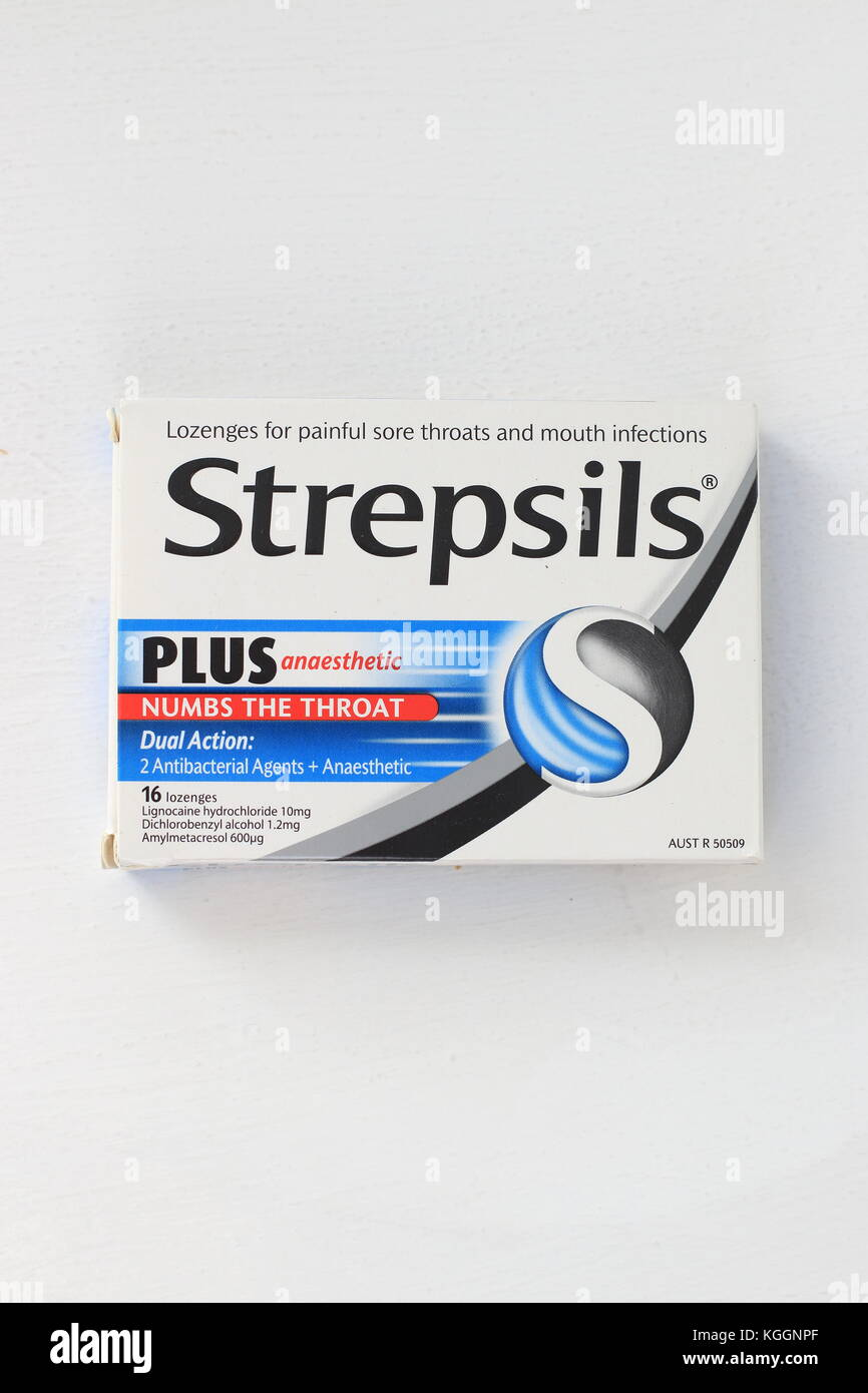 Strepsils - throat lozenges numbing the throat for sore throat Stock Photo