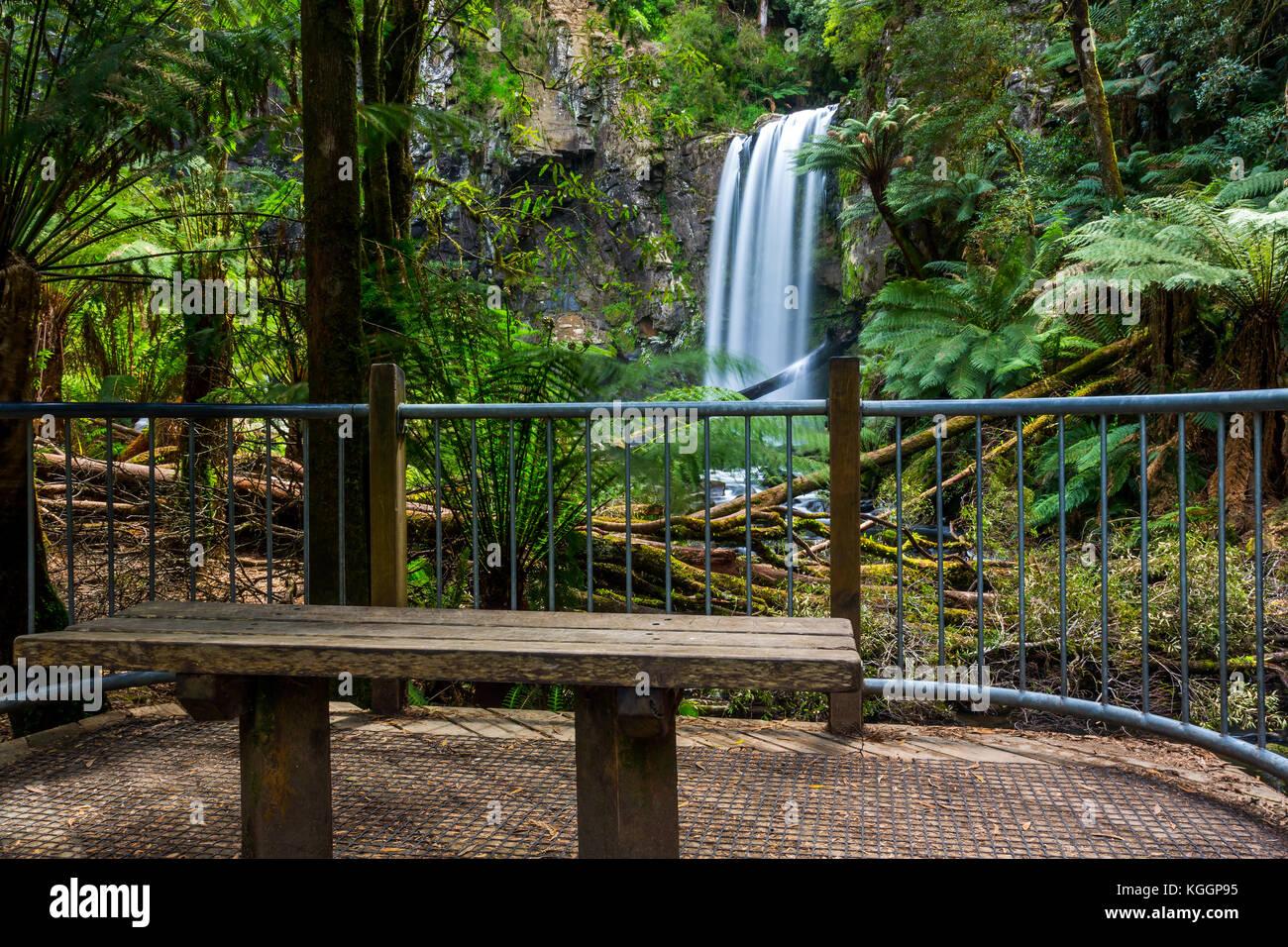 The viewing platform at the bottom of the Hopetoun Falls. - Stock Image