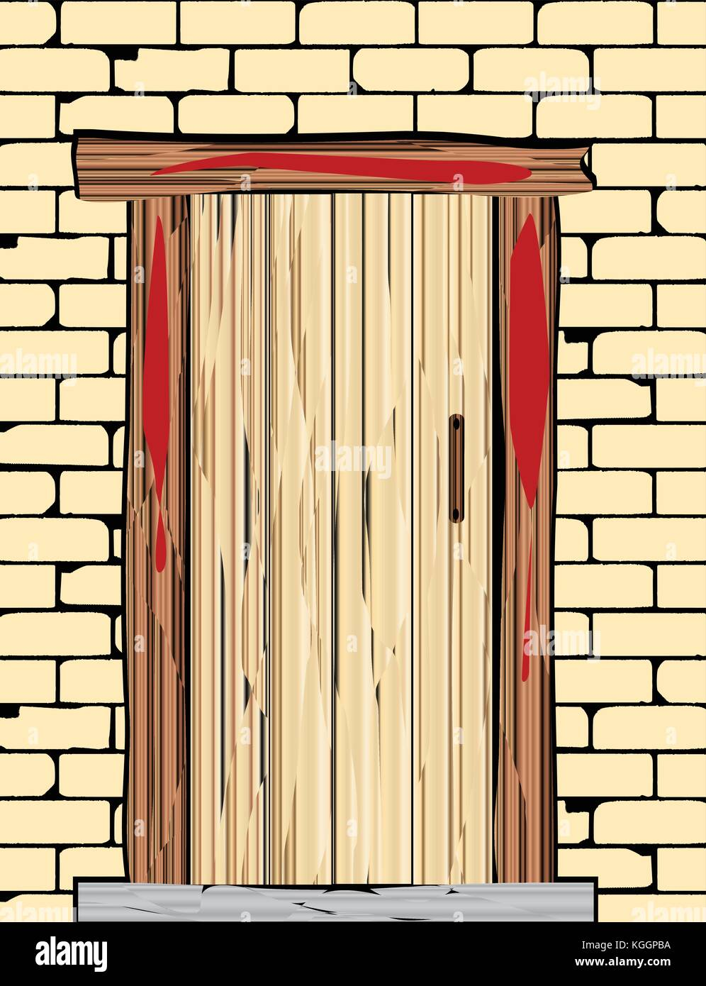 A Passover Door With Blood On The Wooden Frame Stock