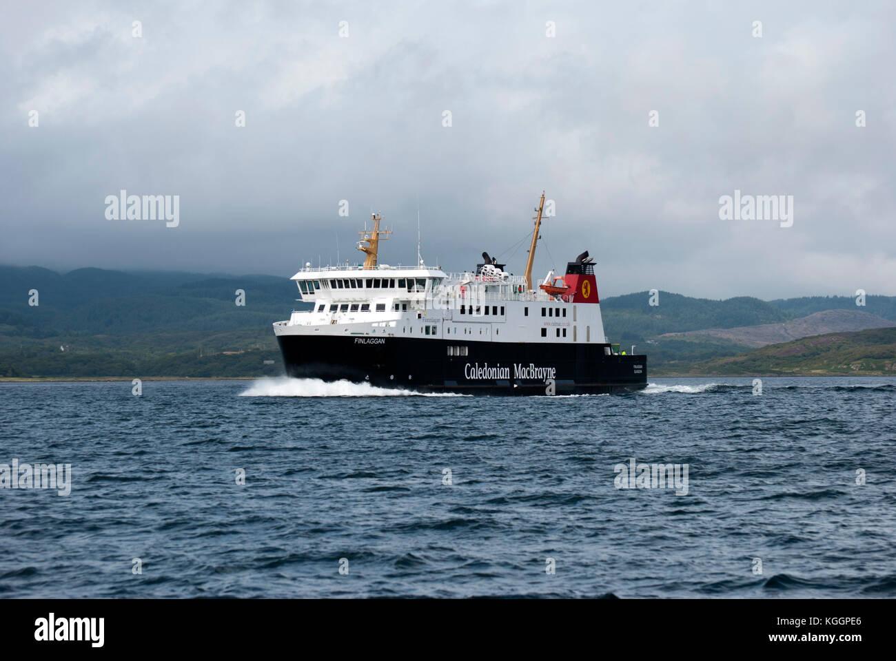 2011 M.V. Finlaggan Ferry Sound of Islay Scotland port side view of black white red caledonian macbrayne Calmac Stock Photo