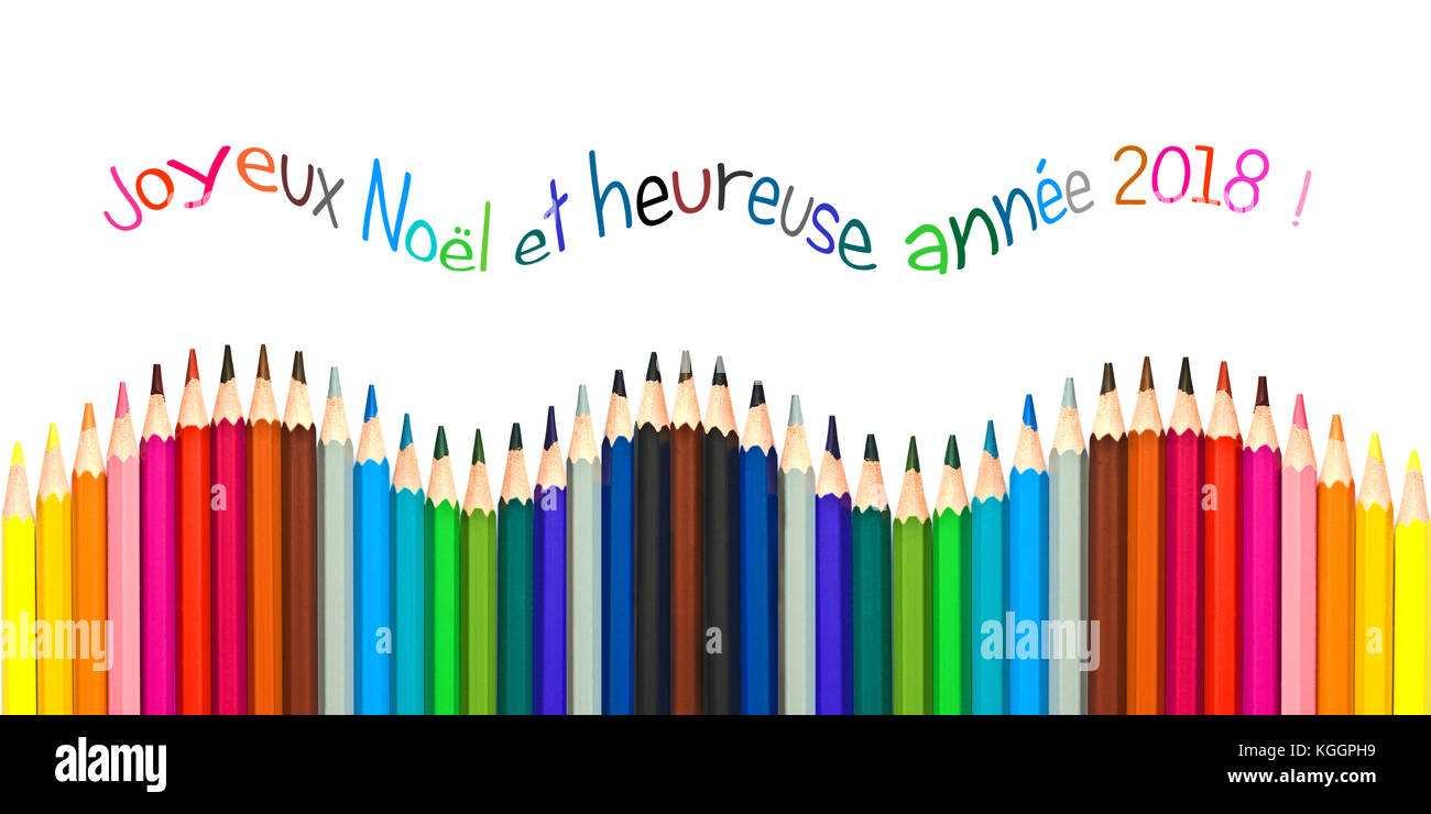 greeting card with french text meaning happy new year 2018 greeting card colorful pencils isolated