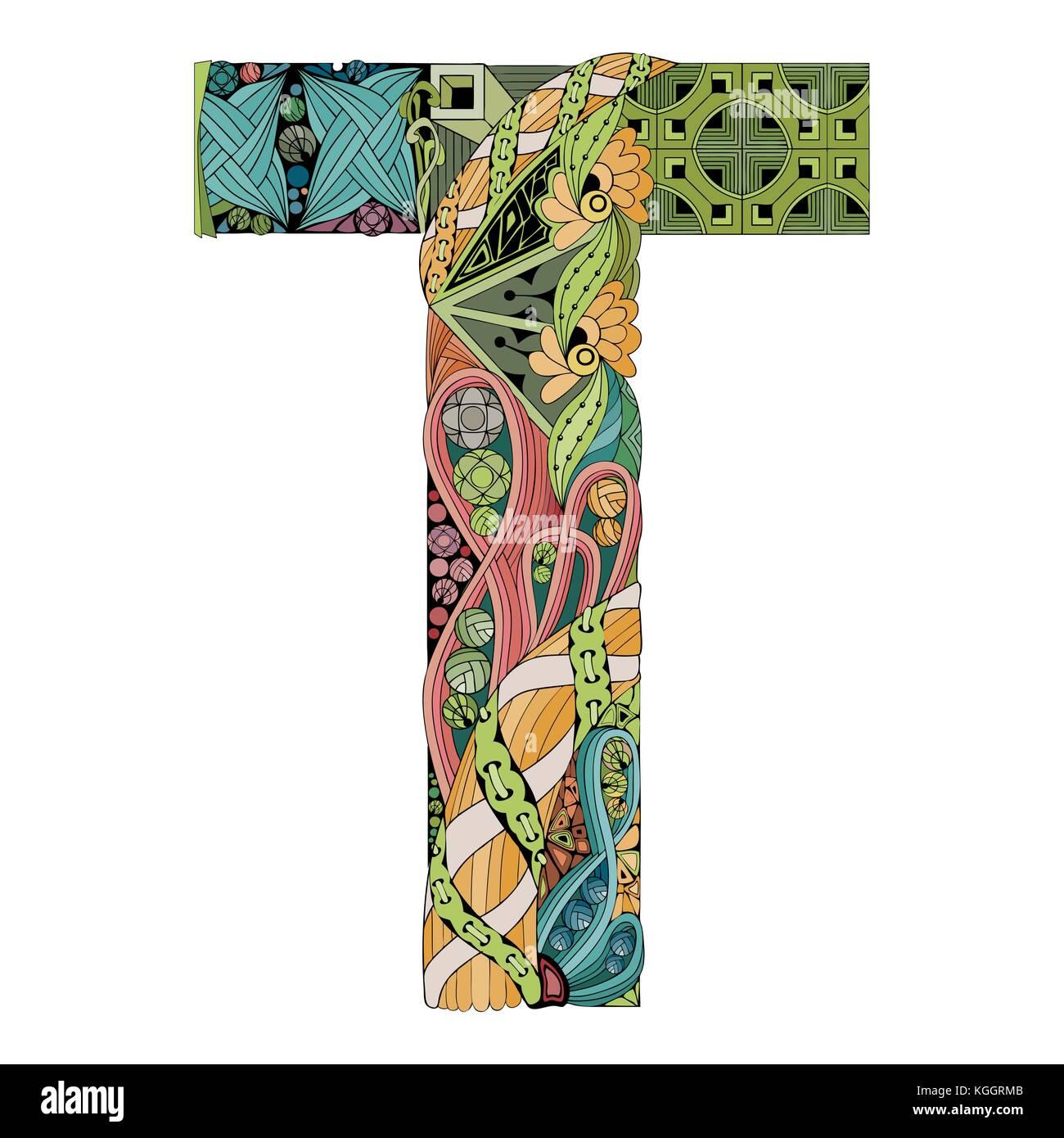 Hand Painted Art Design Letter T Zentangle Object