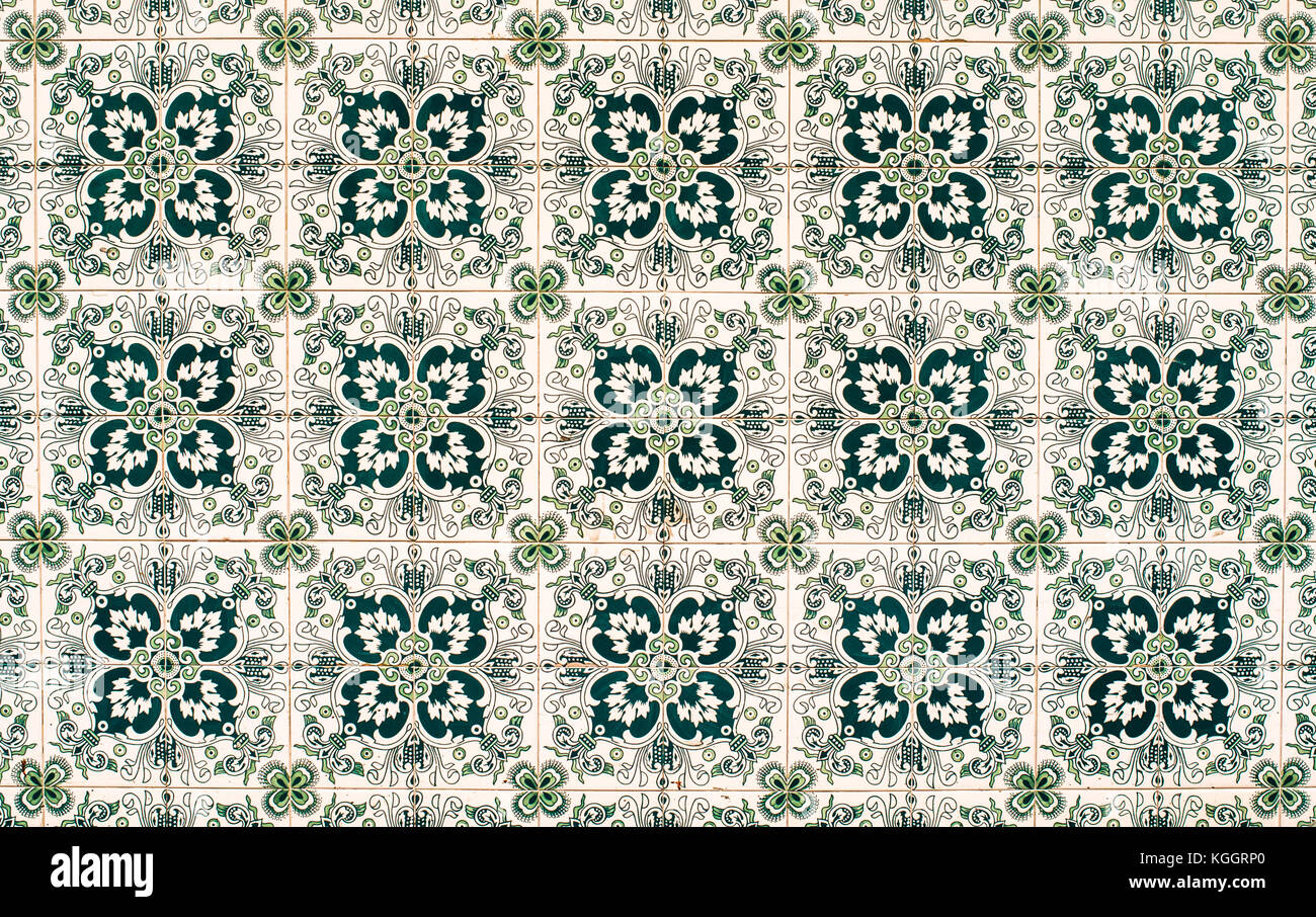 Vintage azulejos, traditional Portuguese tiles - Stock Image