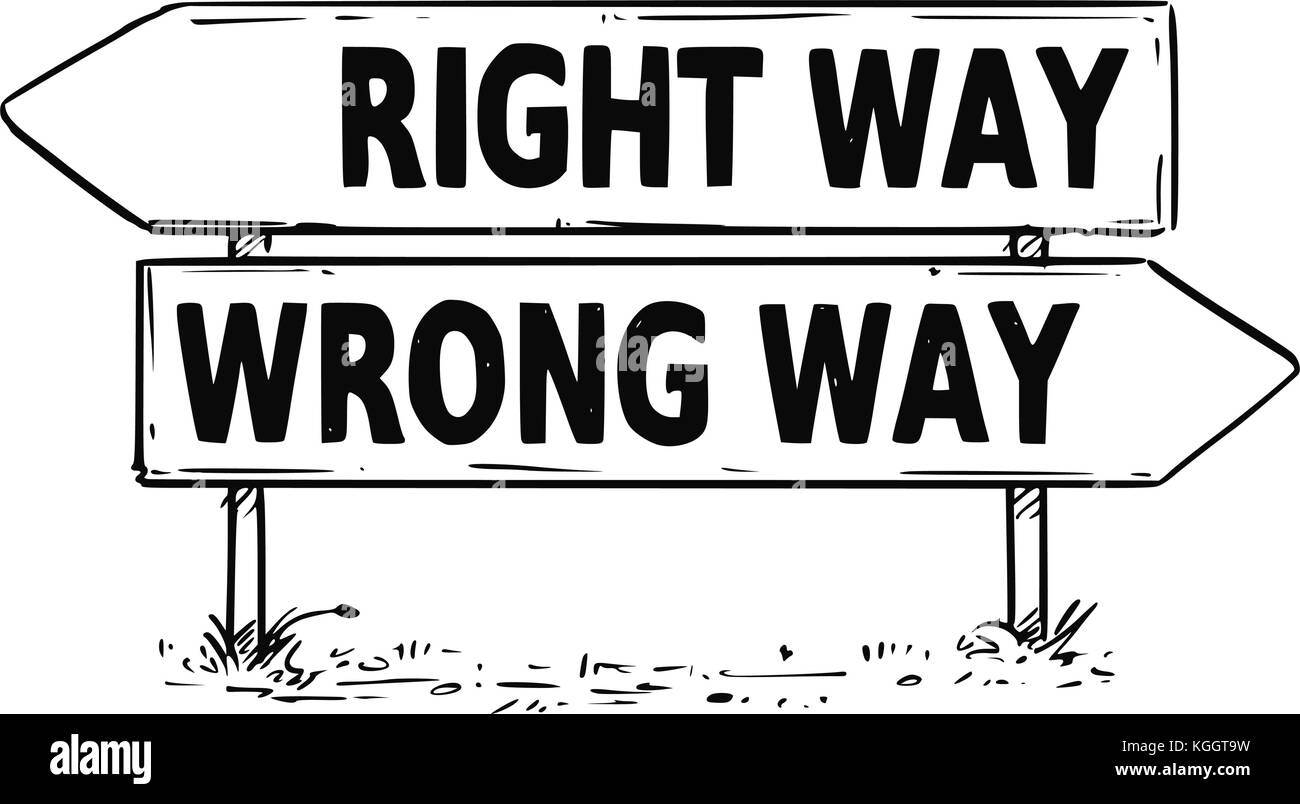 Vector drawing of right or wrong way business decision traffic arrow ...