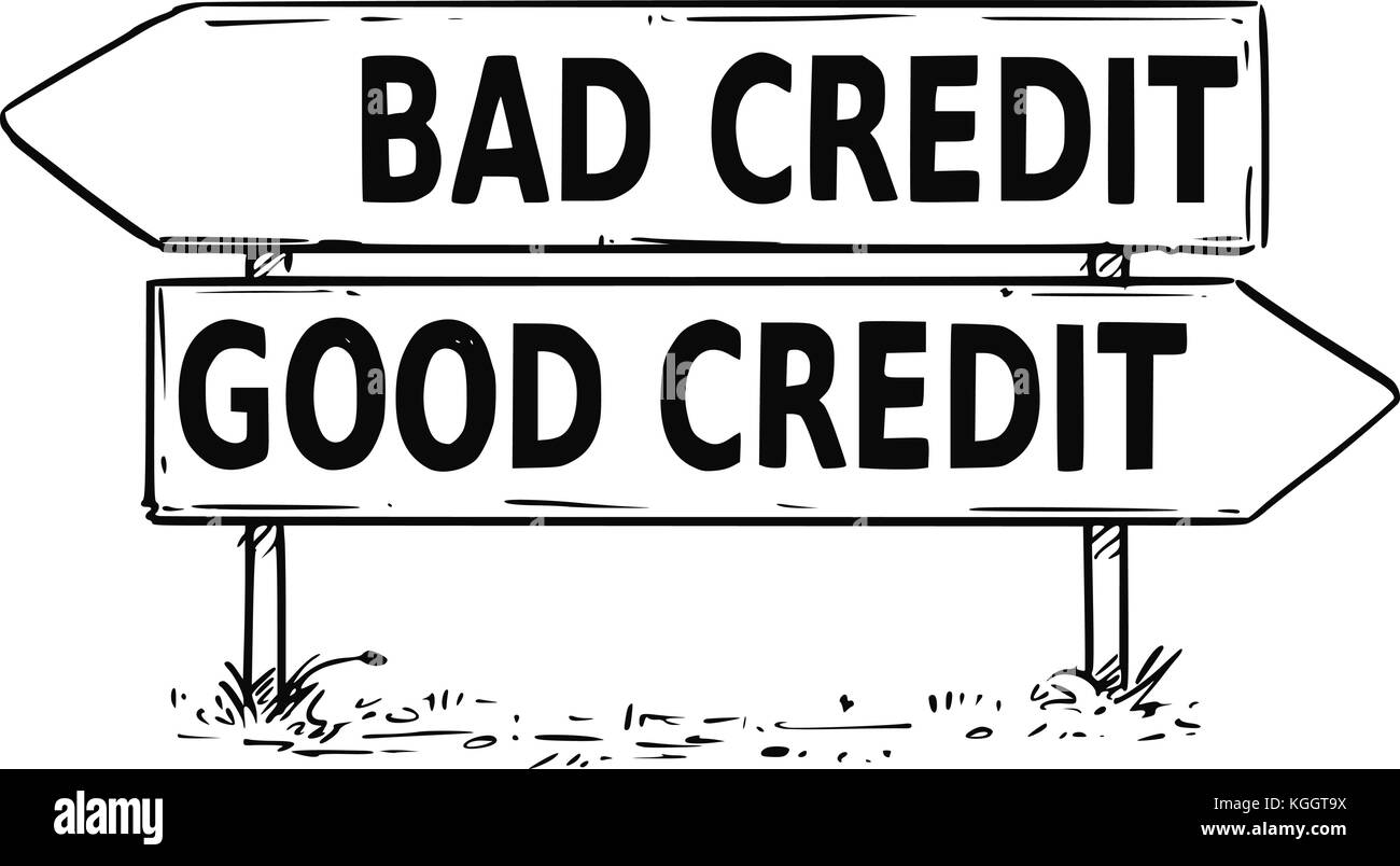 Vector drawing of bad or good credit business decision traffic arrow ...