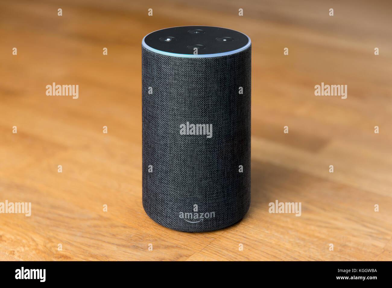 The 2017 release of a charcoal Amazon Echo (2nd generation) smart speaker and intelligent personal assistant Alexa - Stock Image