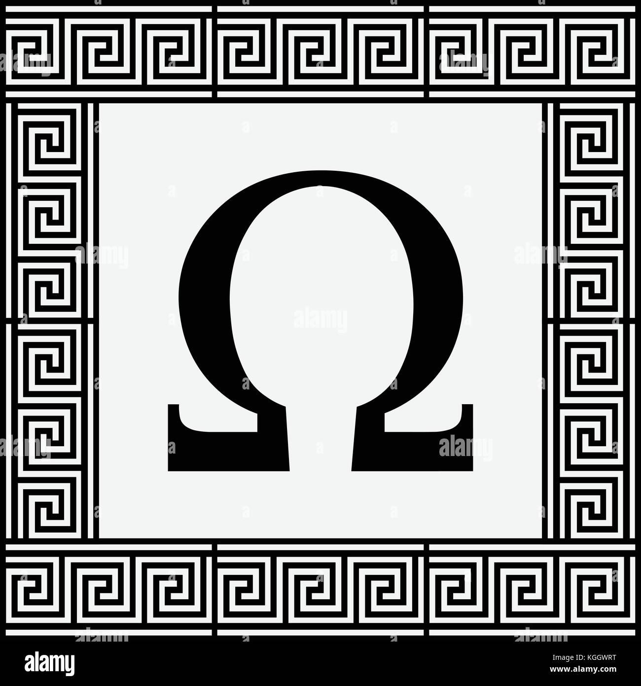Omega Greek letter icon Omega symbol in ancient Greek frame