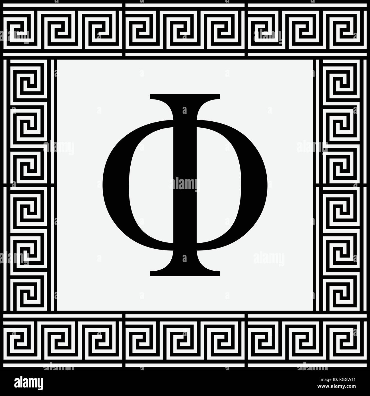 Phi Greek letter icon Phi symbol in ancient Greek frame vector