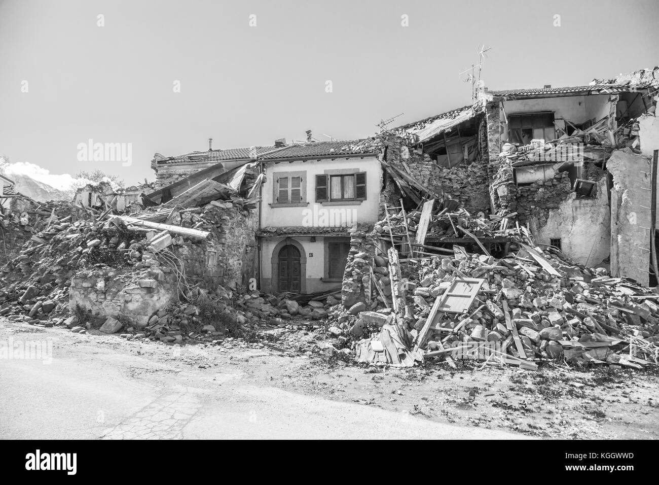 Prato of Amatrice,Italy. 29 April 2017. The damage caused by the earthquake that hit central Italy in 2016. Prato - Stock Image