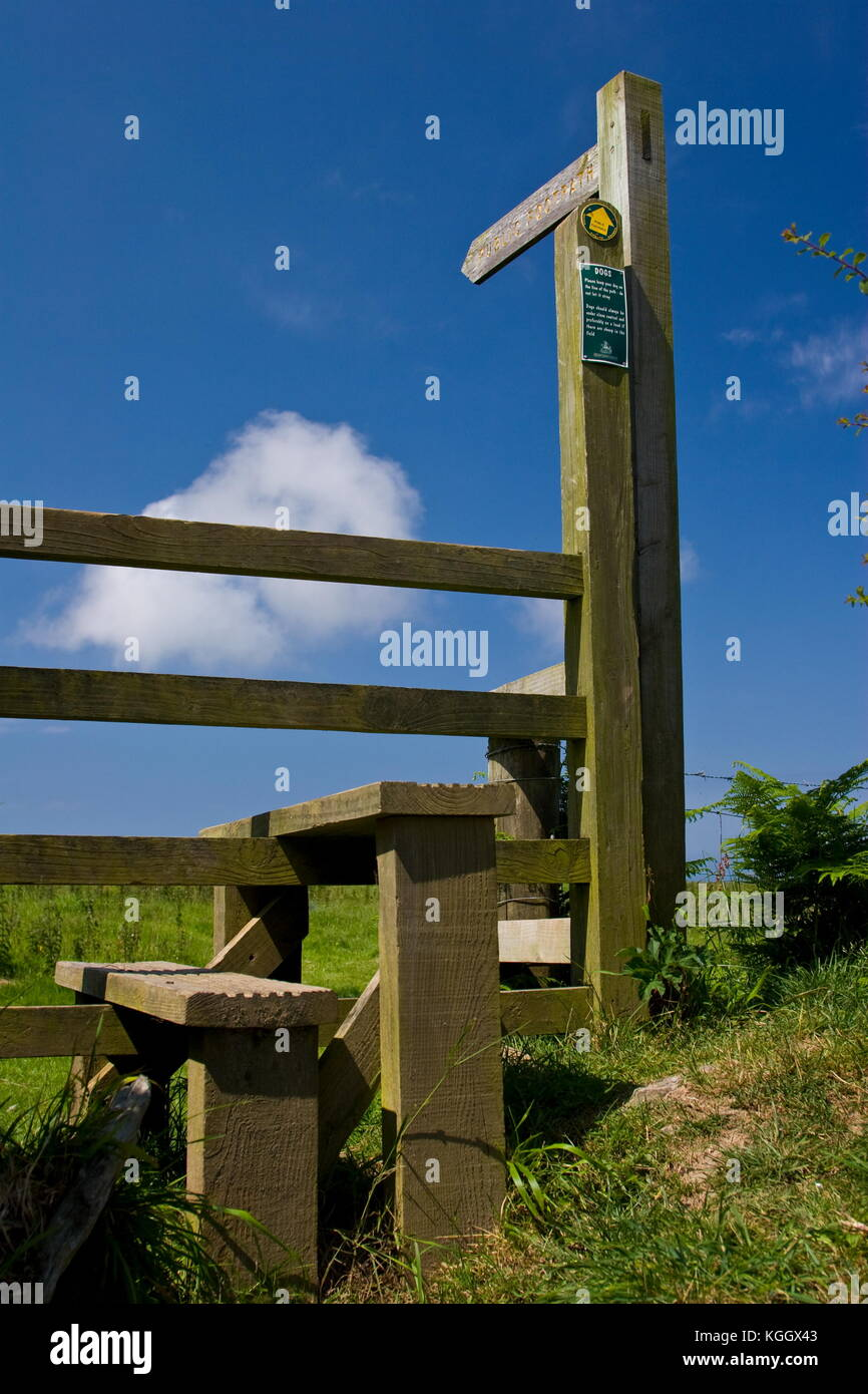 Footpath signs and styles,Warcombe Lane,Higher Warcombe,Devon - Stock Image