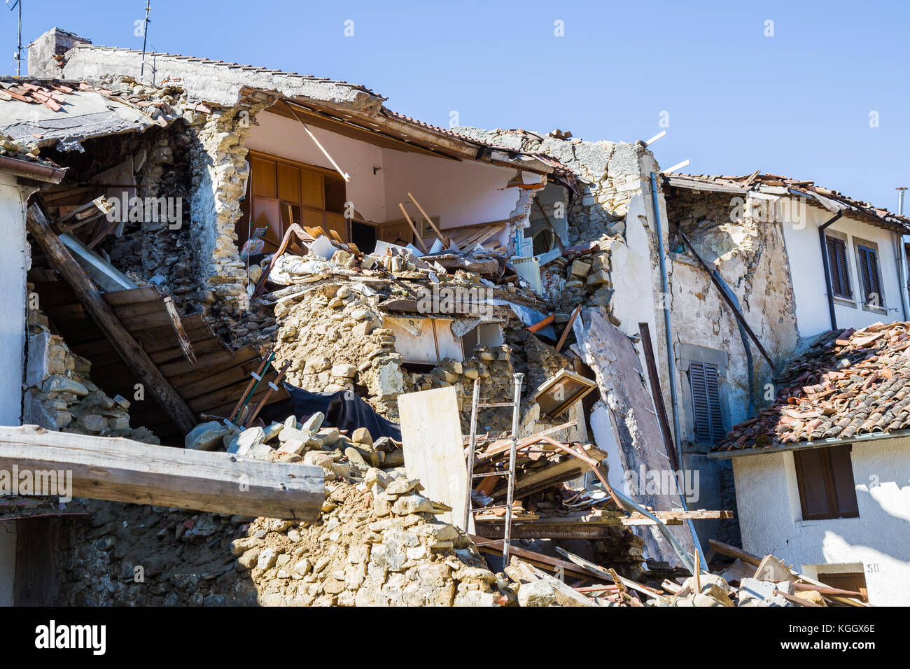 Prato of Amatrice,Italy. 29 April 2017. The damage caused by the earthquake that hit central Italy in 2016. Prato Stock Photo