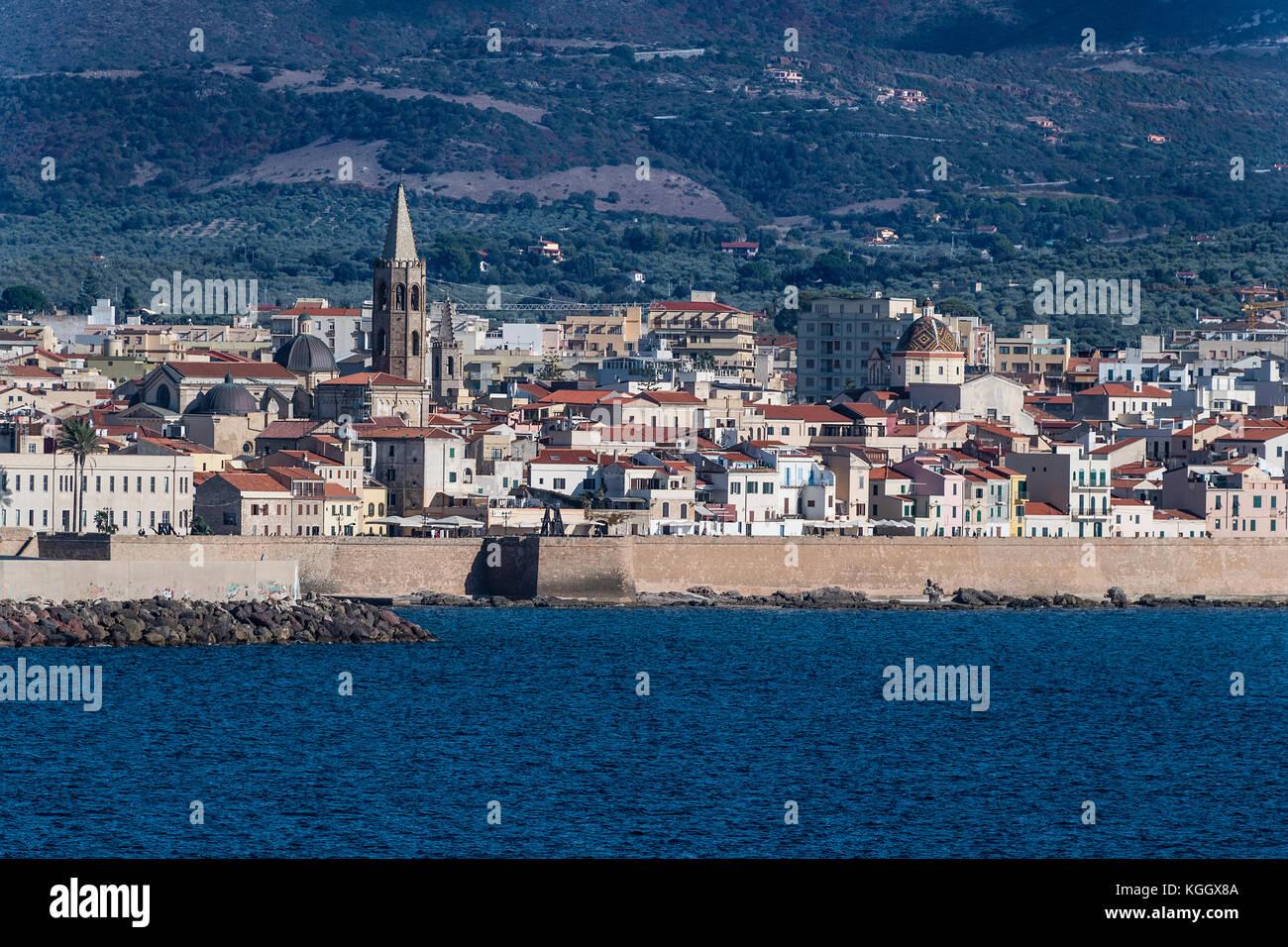 Cityscape of Alghero, Sardinia, Italy - Stock Image