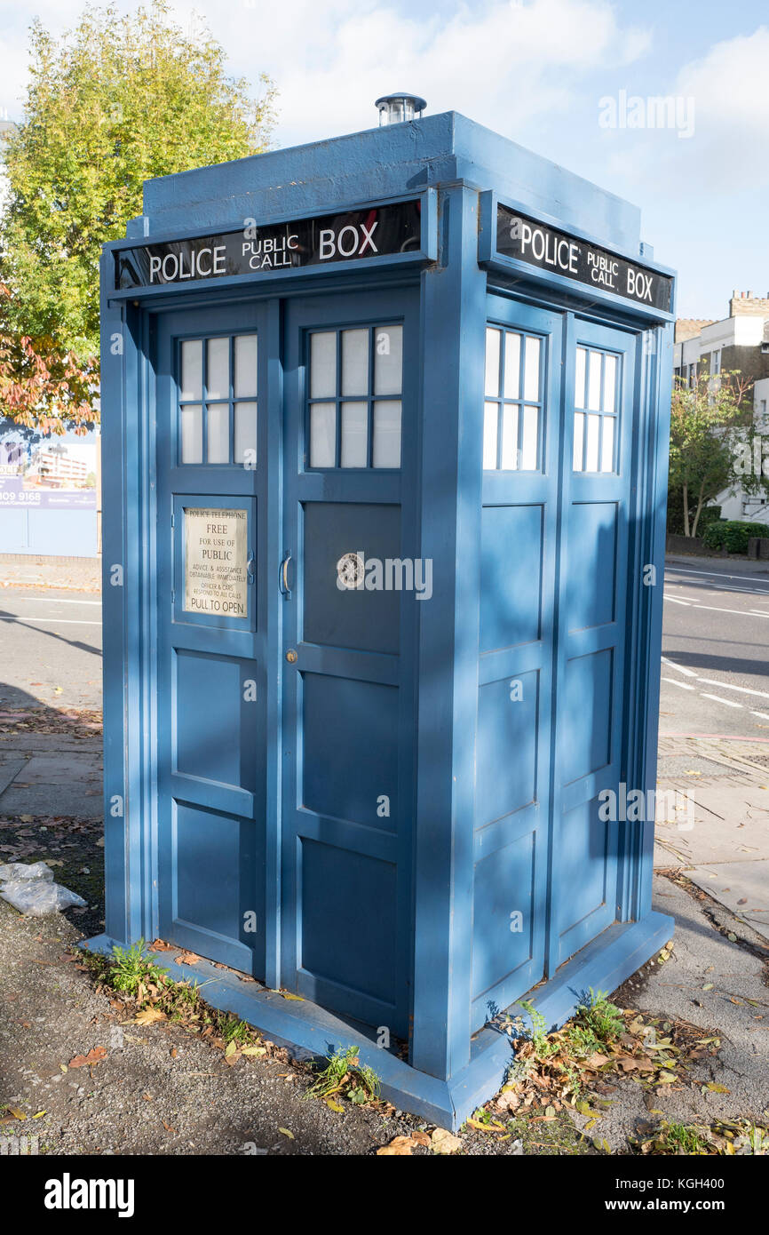 Replica of a blue Metropolitan Police Call Box recognisable as the Tardis for the Time Lord and time traveller Dr Stock Photo