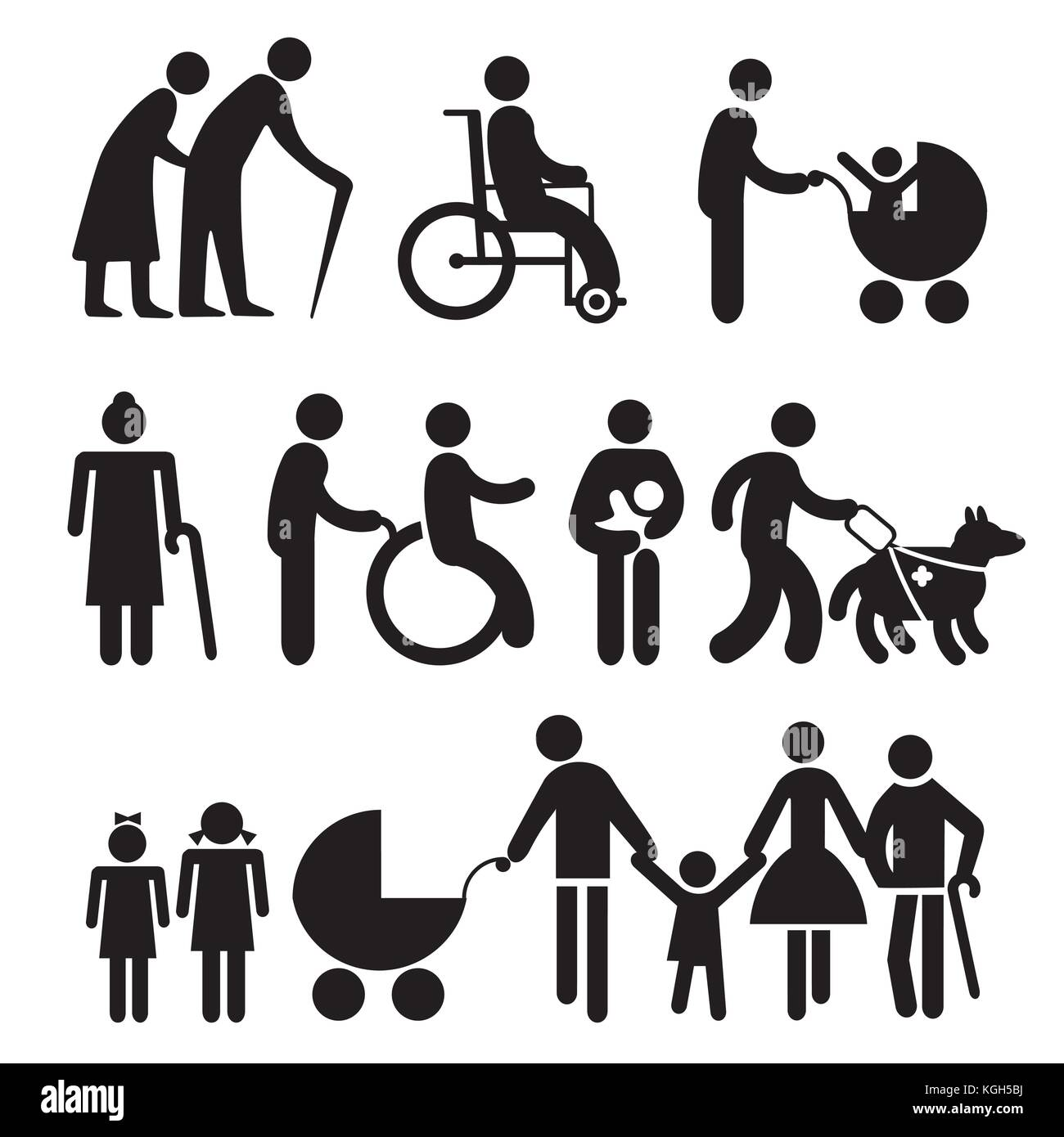 handicapped people and seniors - Stock Vector