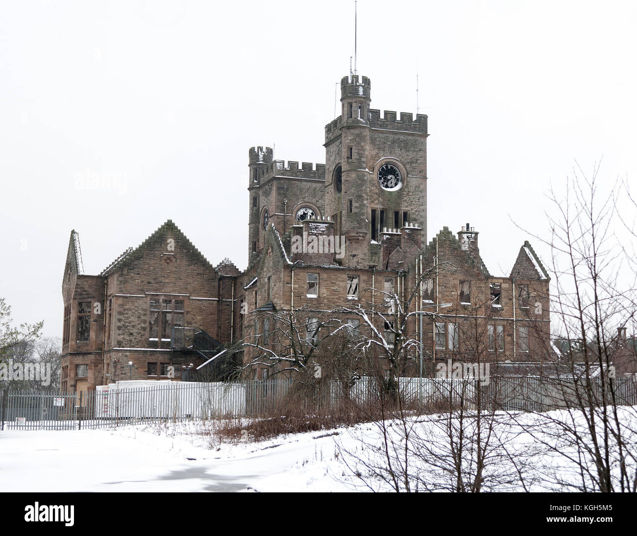 HARTWOOD, SCOTLAND- DECEMBER 03 2011: The old hospital in the snow. Hartwood Hospital is a 19th-century psychiatric - Stock Image