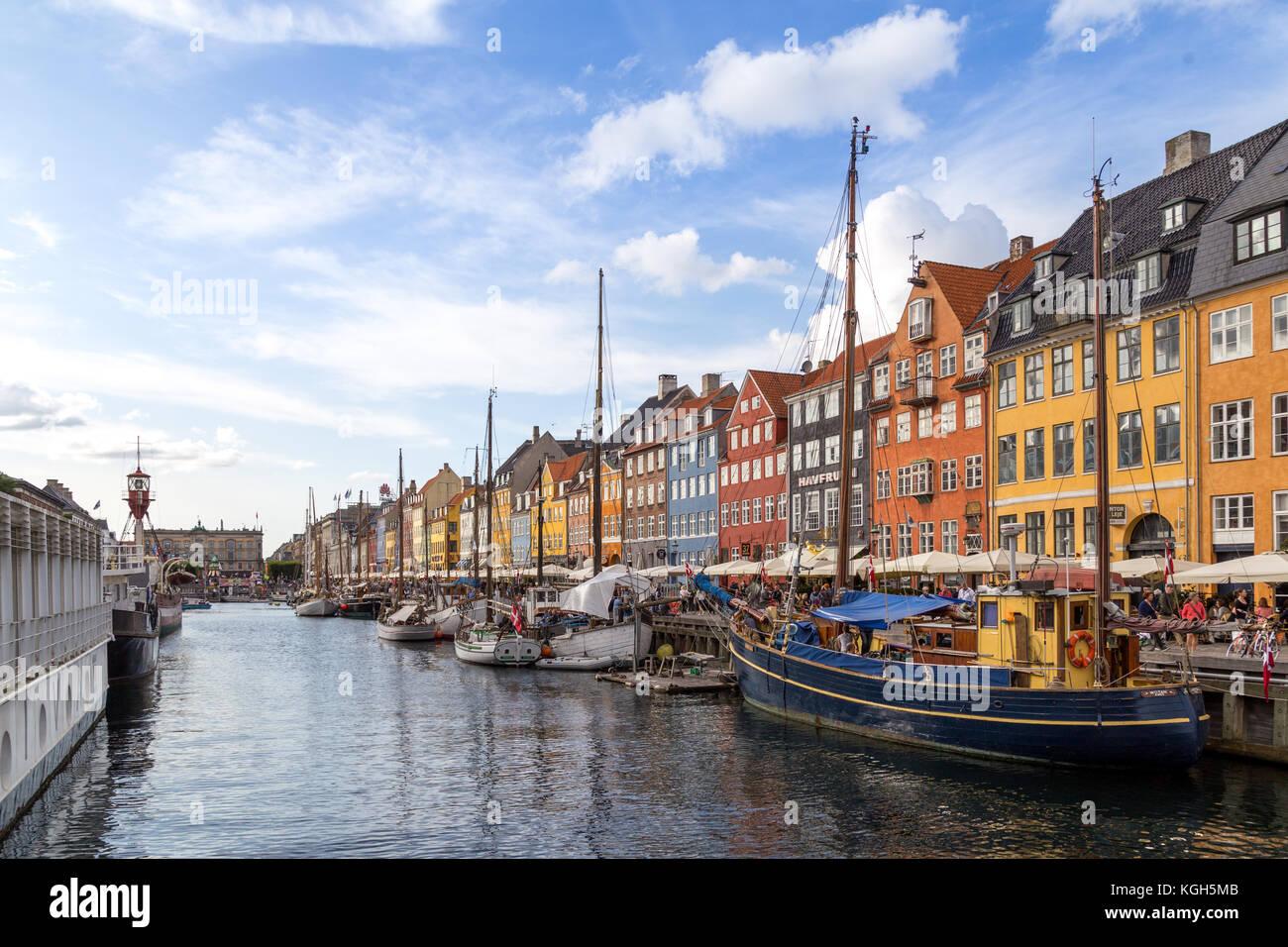 Nyhavn harbor in Copenhagen, Denmark - Stock Image