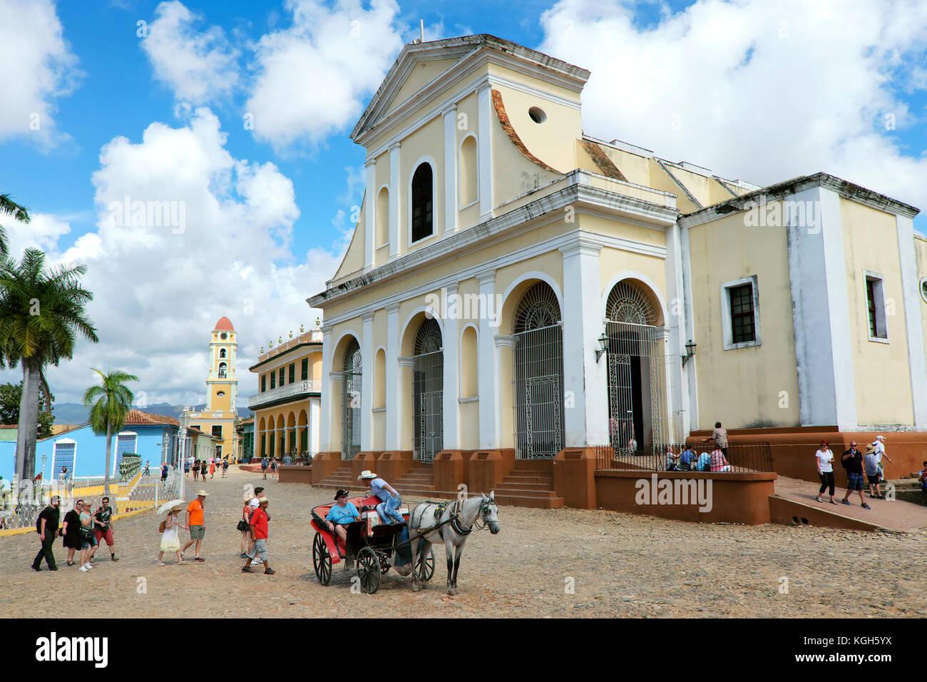 Iglesia Parroquial de la Santísima Church Trinidad, Plaza Mayor Square, Trinidad, Province of Sancti Spíritus, - Stock Image