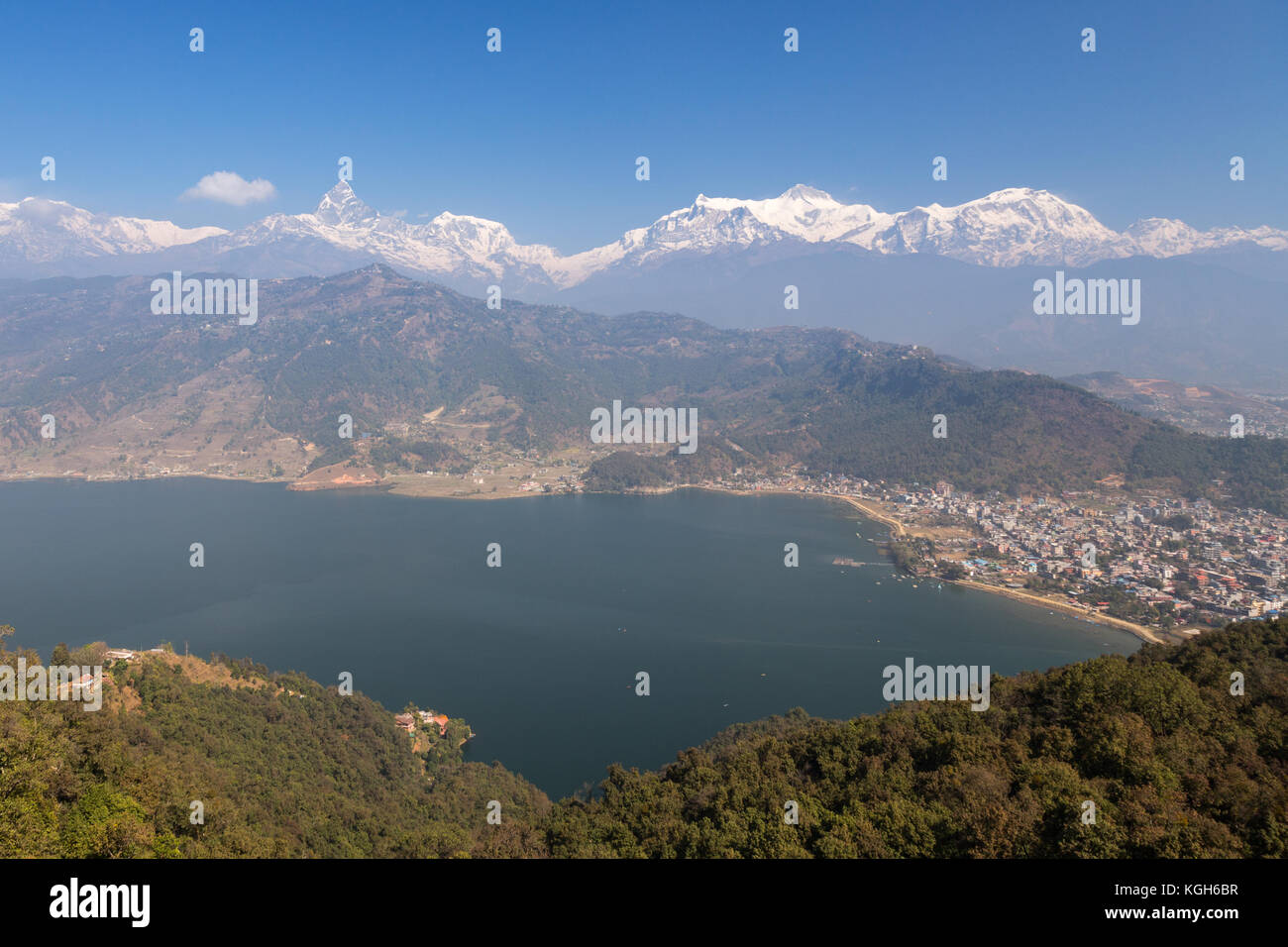 Pokhara seen from the track to the World Peace Pagoda - Stock Image
