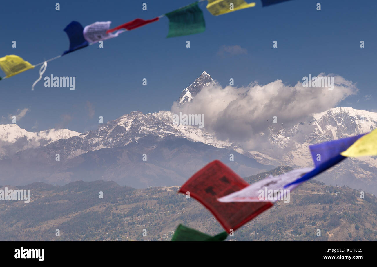 Machapuchare seen from the World Peace Pagoda, Pokhara - Stock Image