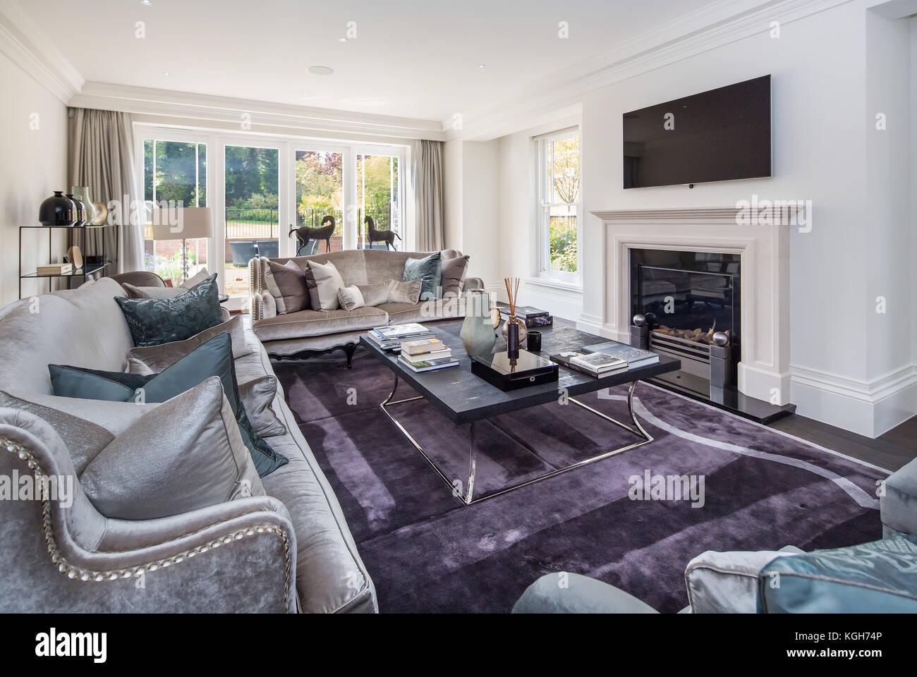 Modern Luxury Lounge In Large House Stock Photo Alamy