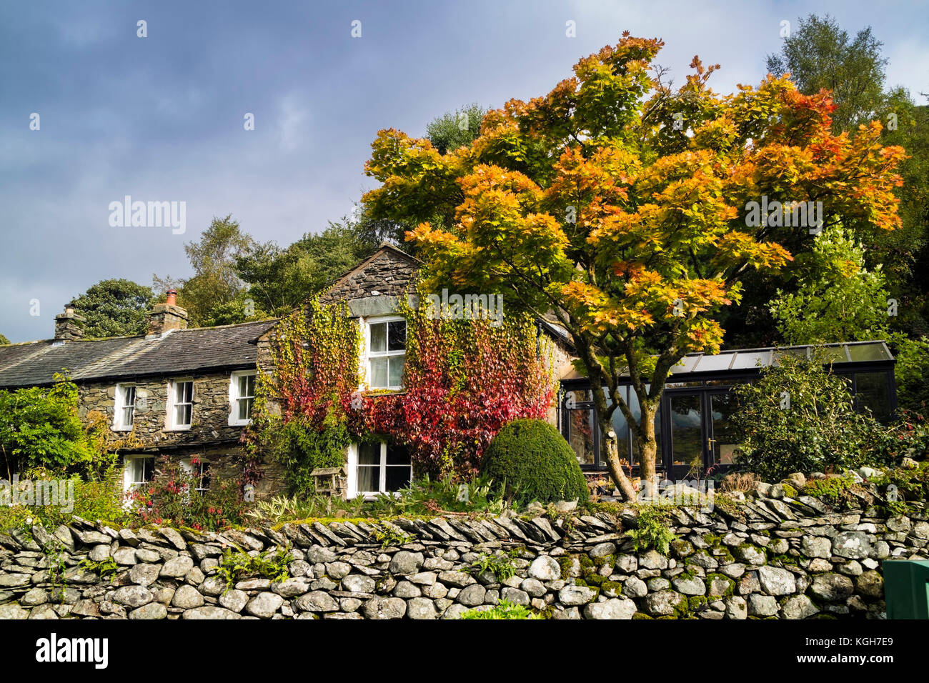 Autumn Colours in the Village of Hartsop, Patterdale, Lake District, Cumbria UK - Stock Image