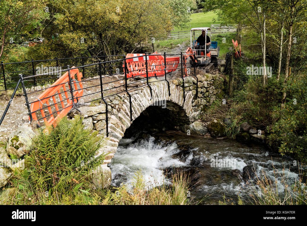 Bridge Repairs Being Carried Out Due to Storm Flood Damage, Hartsop, Lake District, Cumbria, UK - Stock Image