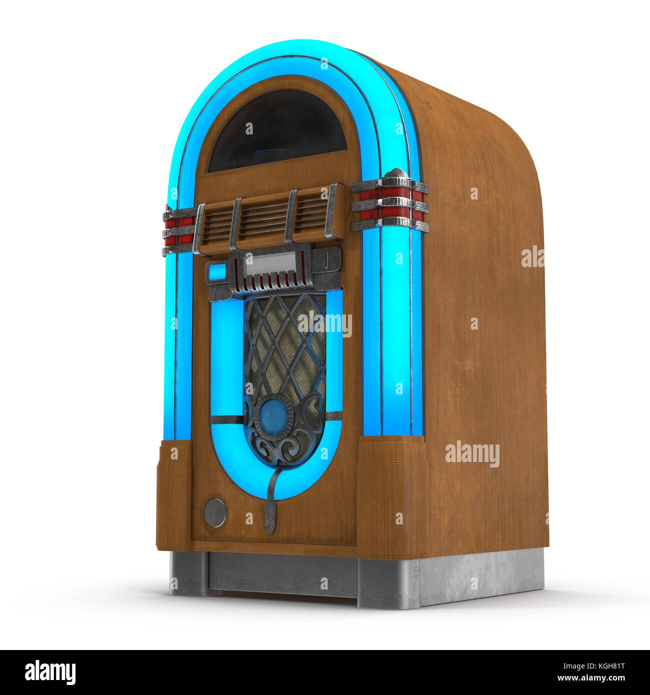 Old jukebox music player isolated on white 3D Illustration Stock