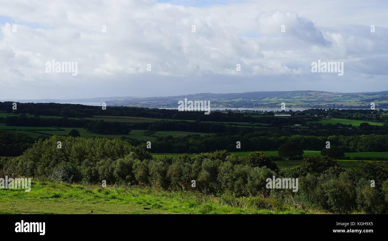 A view across to the Exe Estuary from Woodbury Castle - Stock Image