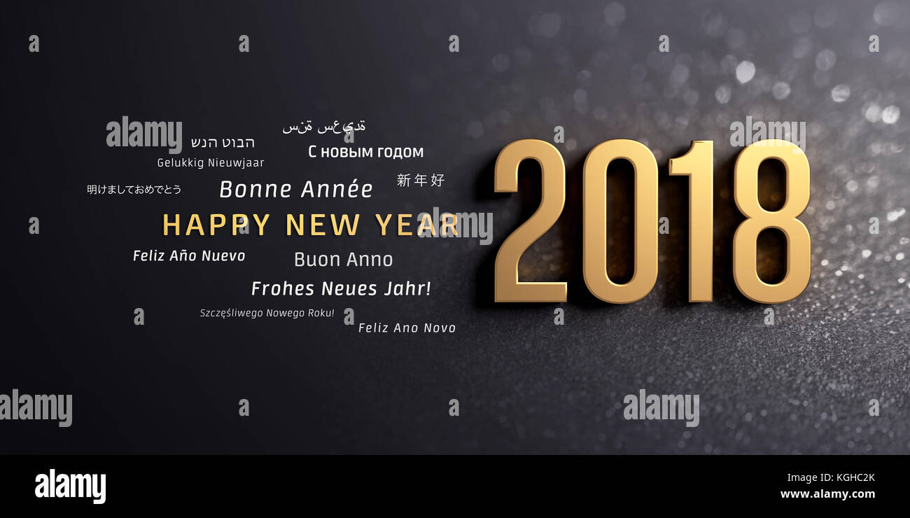 Gold 2018 New Year typescript and greetings in multiple languages, on a glittering black background - 3D illustration Stock Photo