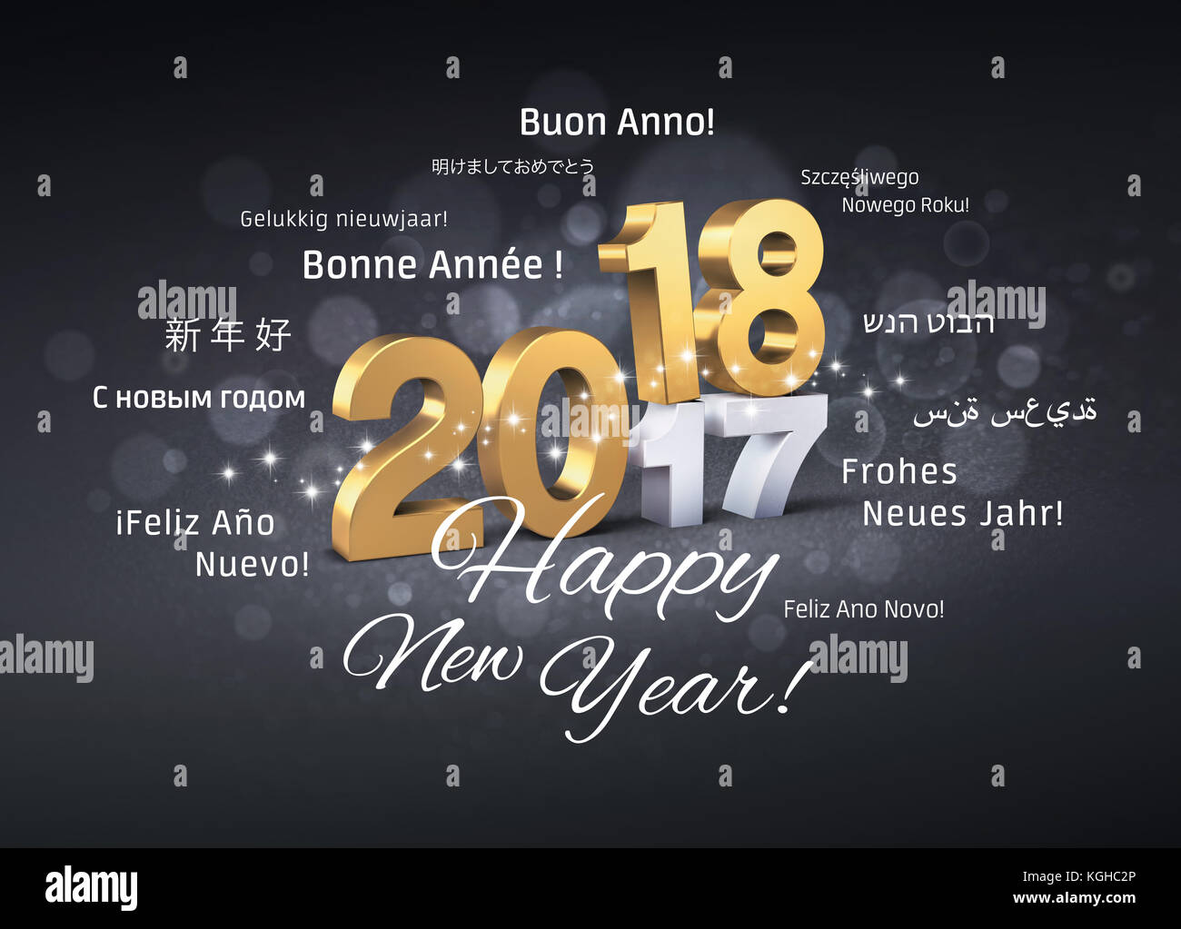 Gold 2018 New Year typescript above 2017 and greetings in multiple languages, on a festive black background - 3D Stock Photo