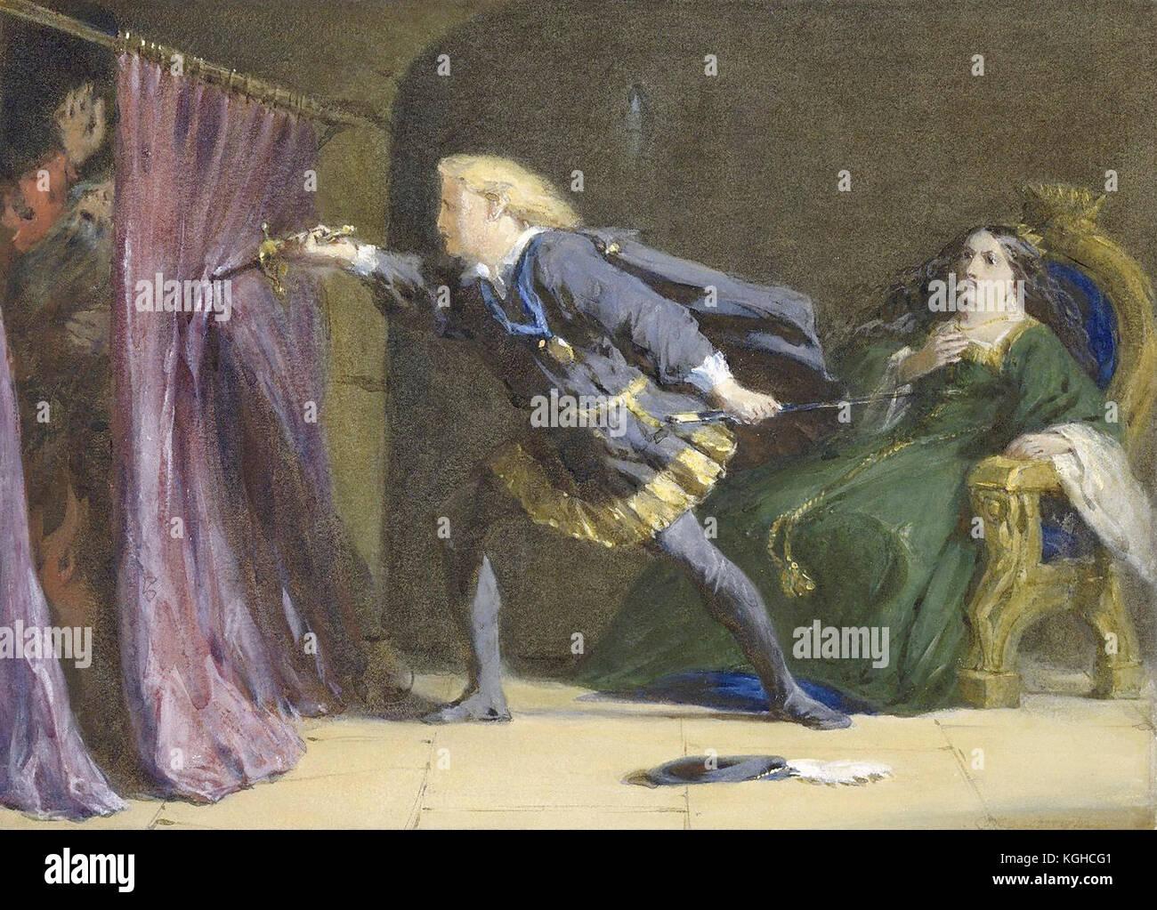 Hamlet mistakenly stabs Polonius Stock Photo