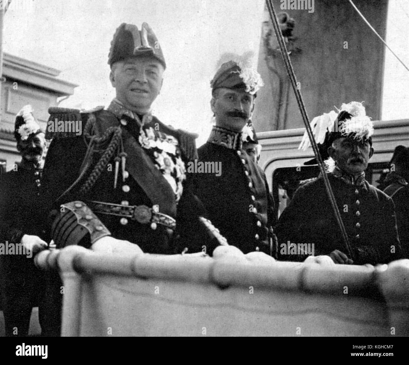 The Lords of the Admiralty attending the Naval Review, 1907. Admiral of the Fleet John Arbuthnot Fisher, front left - Stock Image