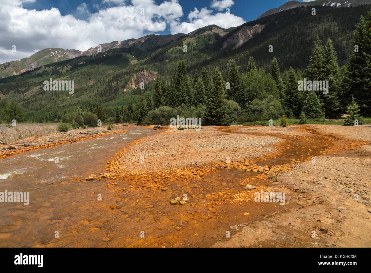 Mining Pollutants Poison the Animas River near Ouray, CO - Stock Image