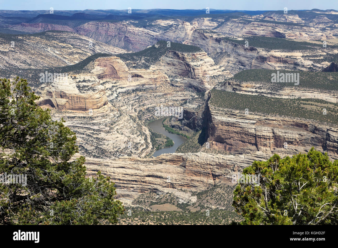 Yampa River Cutting through Geology of Dinosaur National Monument, Colorado - Stock Image