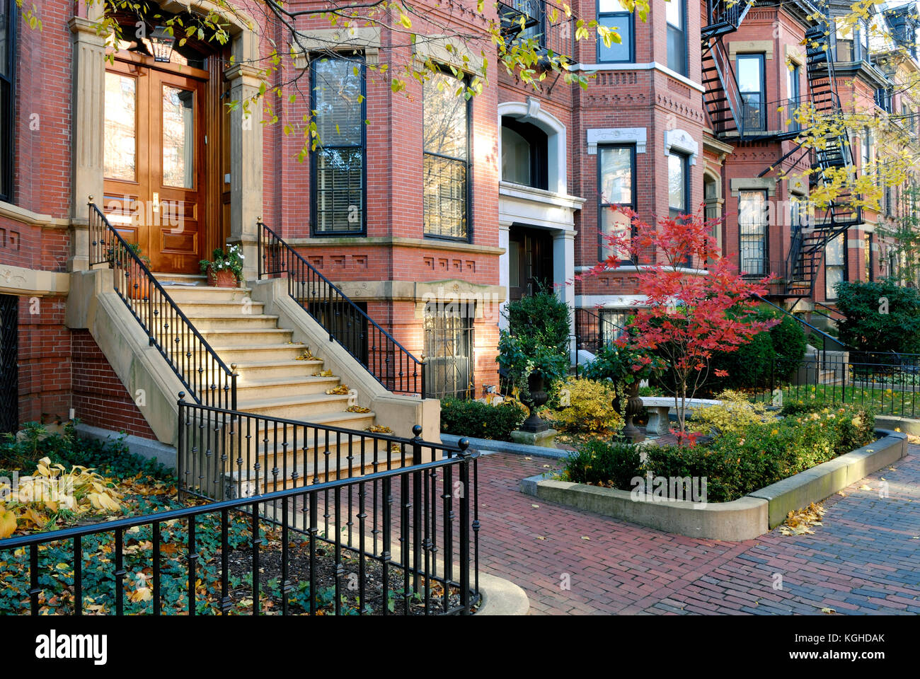 Elegant apartment buildings of Back Bay, Boston. Brick ...