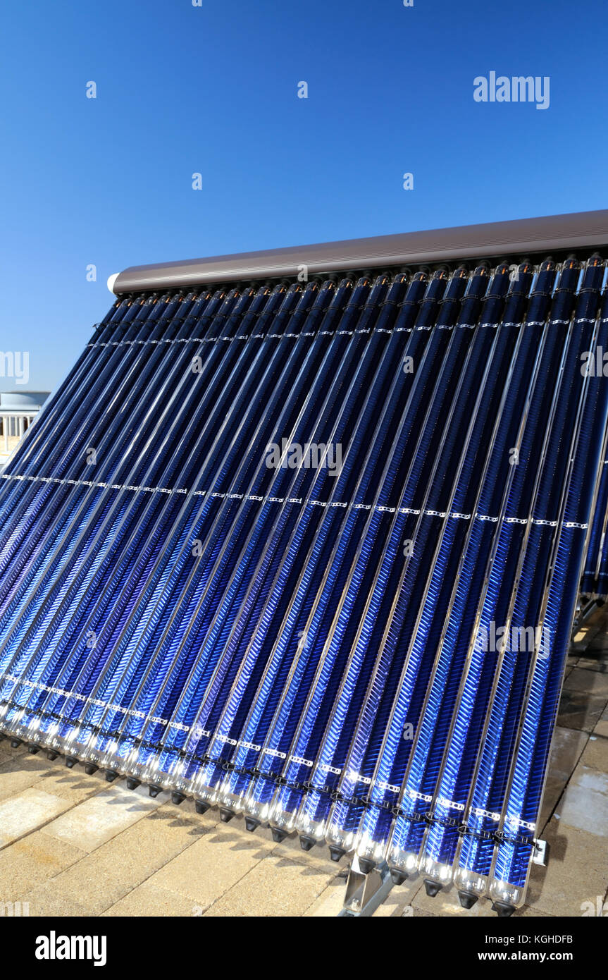 Evacuated tube solar collector - Stock Image