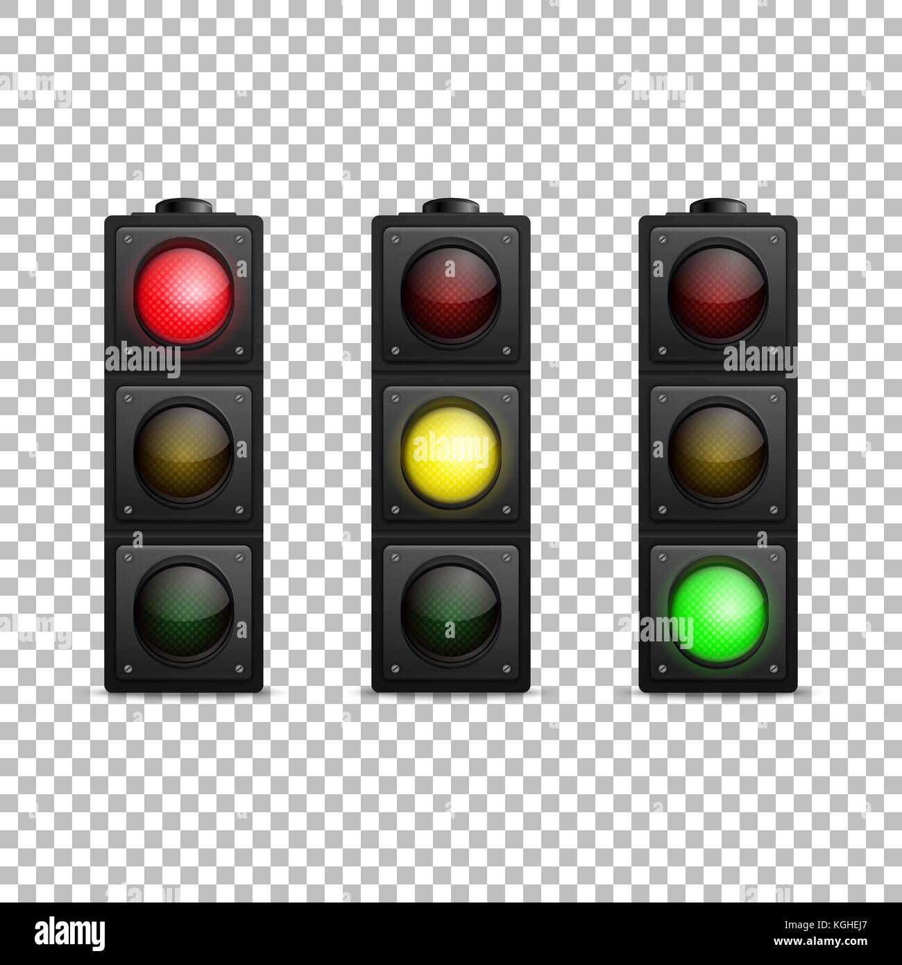 vector realistic traffic light set isolated led backlight red