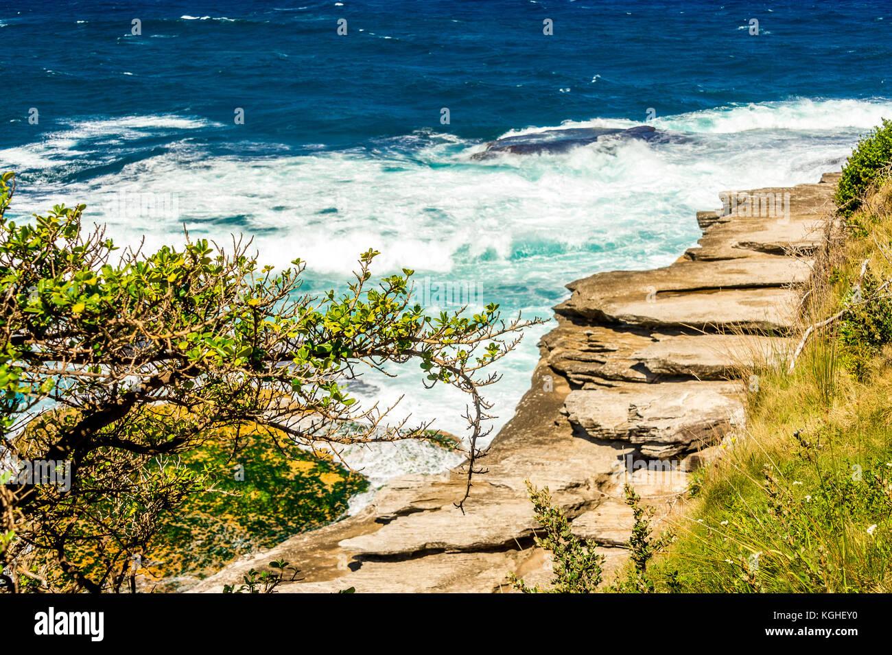 The view on the Bondi to Tamarama Beach walk in Sydney, NSW, Australia Stock Photo