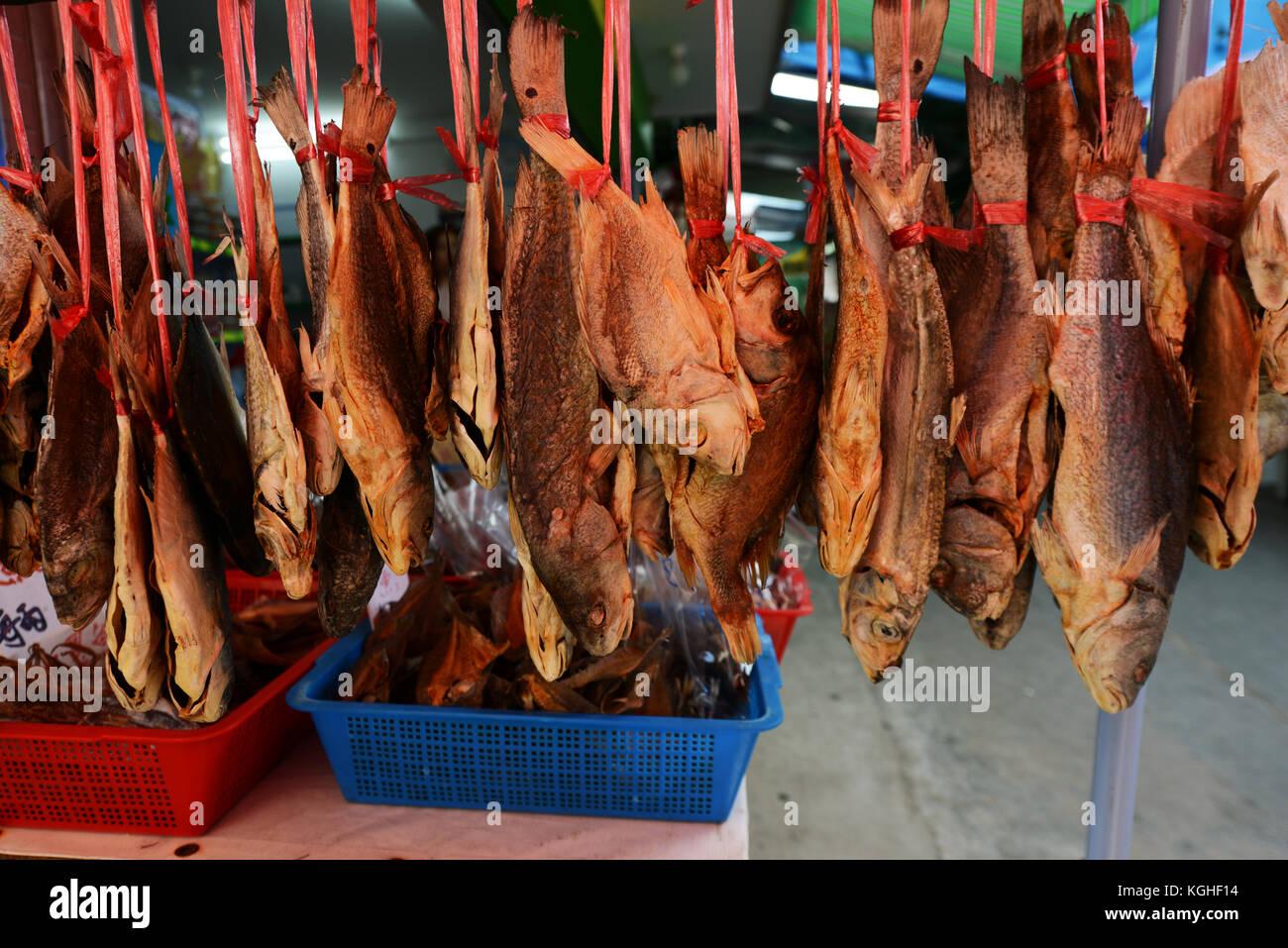 Dried fish on sale. Sok Kwu Wan village on Lamma island, Hong Kong. - Stock Image