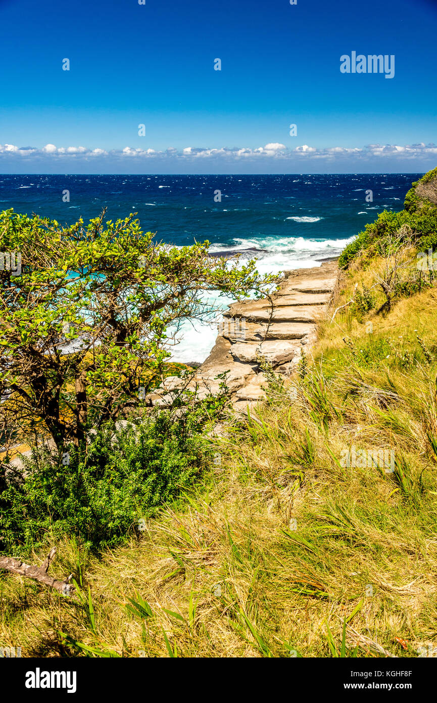 The view on the Bondi to Tamarama Beach walk in Sydney, NSW, Australia Stock Photo