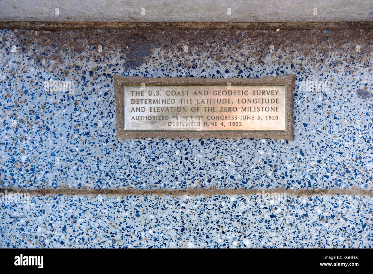 Brass plate inscription at the base of the Zero Milestone Monument in Washington, DC, United States of America, - Stock Image