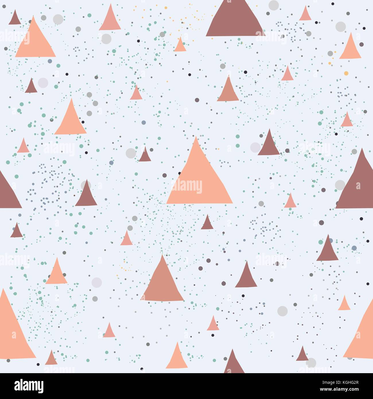 Cute Pattern with Golden triangles with pastel blue stripes. beige background with tiny dots.Hand Drawn Design. - Stock Image