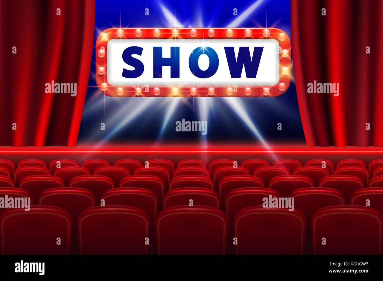 Cinema Show Design With Lights Scene And Red Seats Poster For Concert Party Theater Template Vector Illustration
