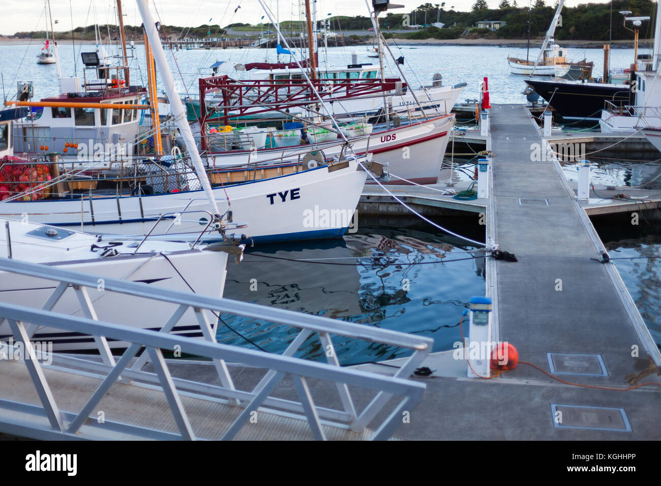 The boat marina at Apollo Bay area, located on the Great Ocean Road, Victoria - Stock Image