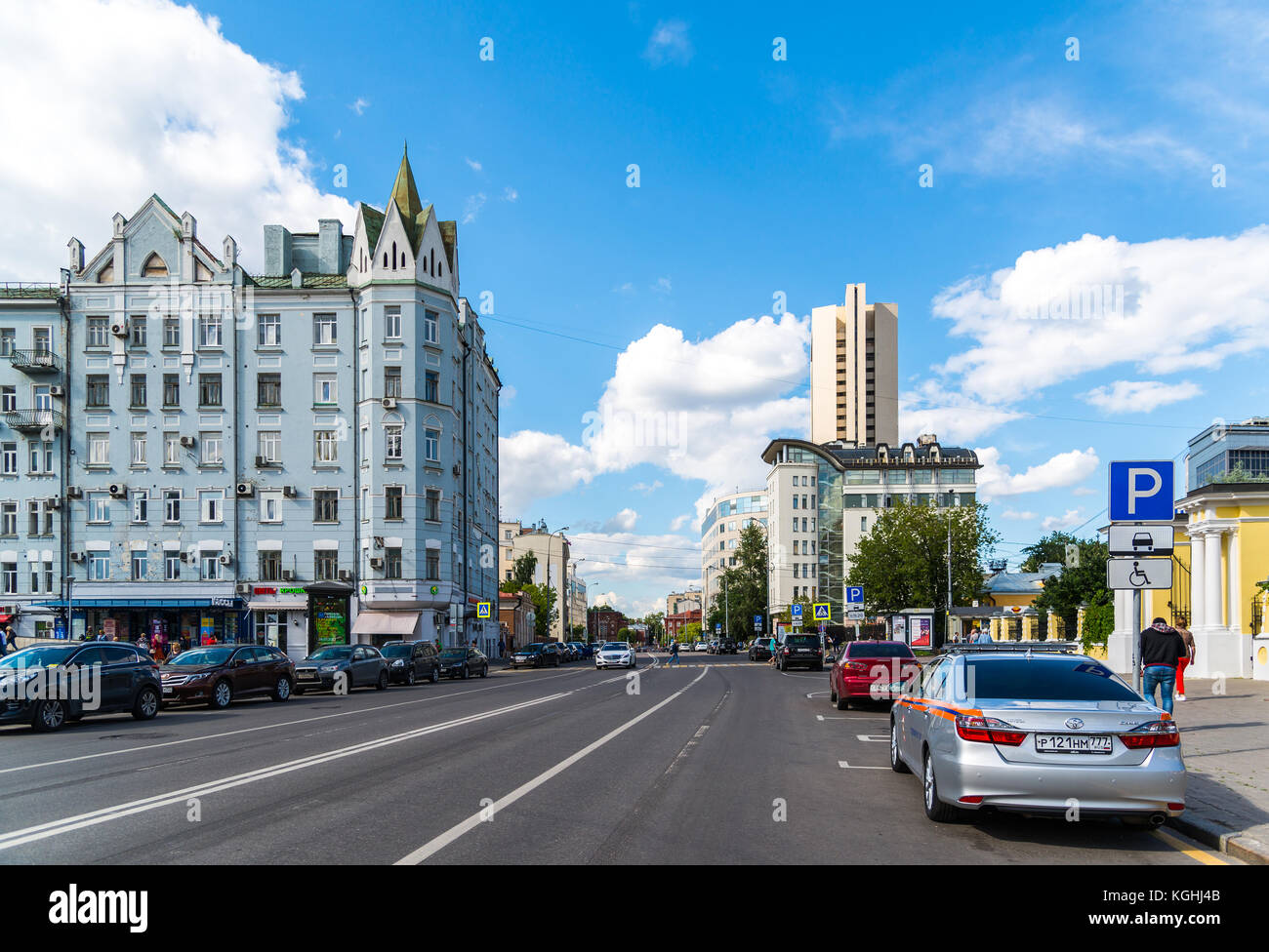 Moscow, Russia - July 24. 2017. Shchepkina street and old Profitable house - Stock Image
