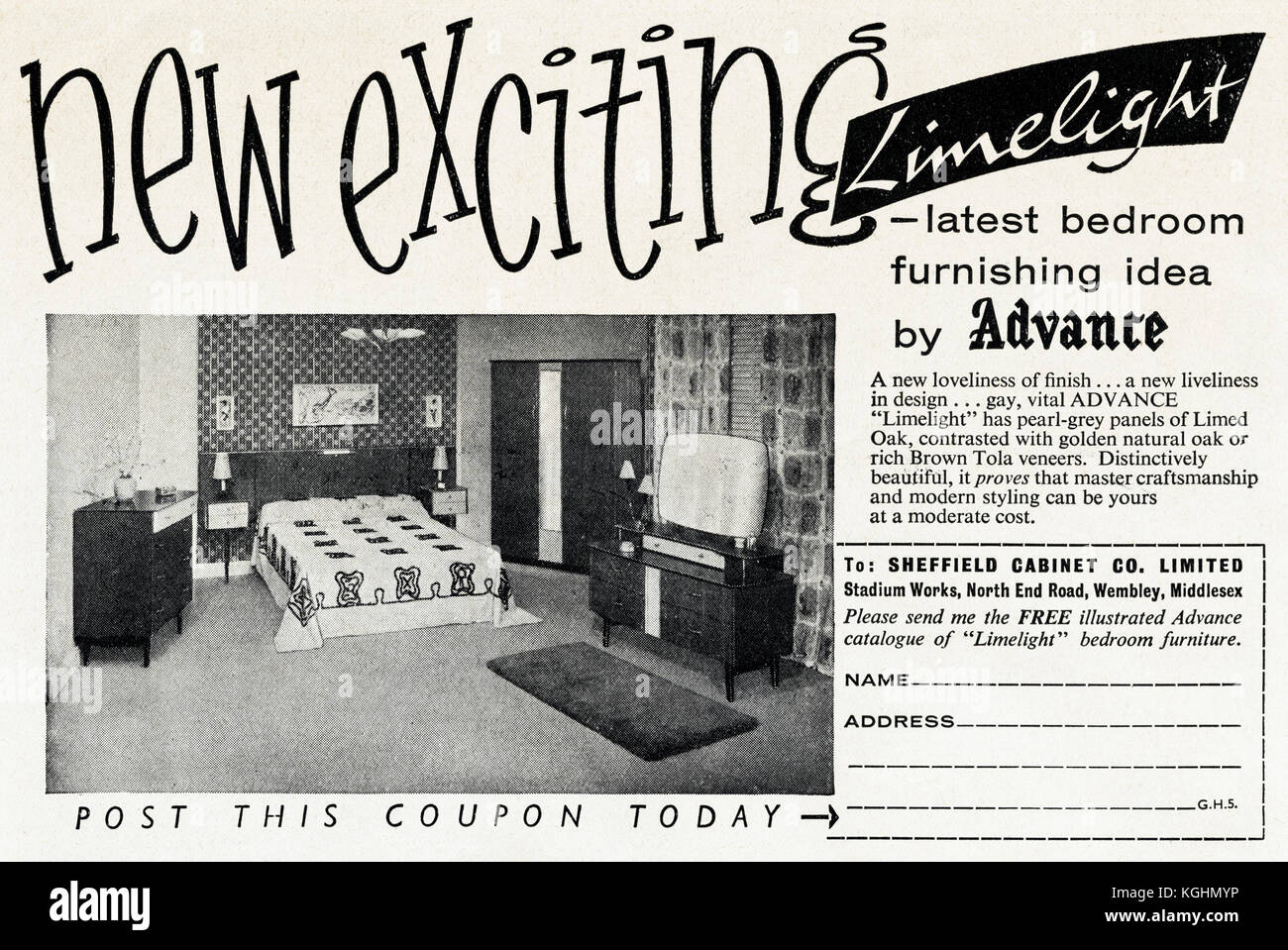 1950s Old Vintage Original Advert British Magazine Print Advertisement  Advertising Limelight Bedroom Furniture By Sheffield Cabinet Co Ltd Of  Wembley ...