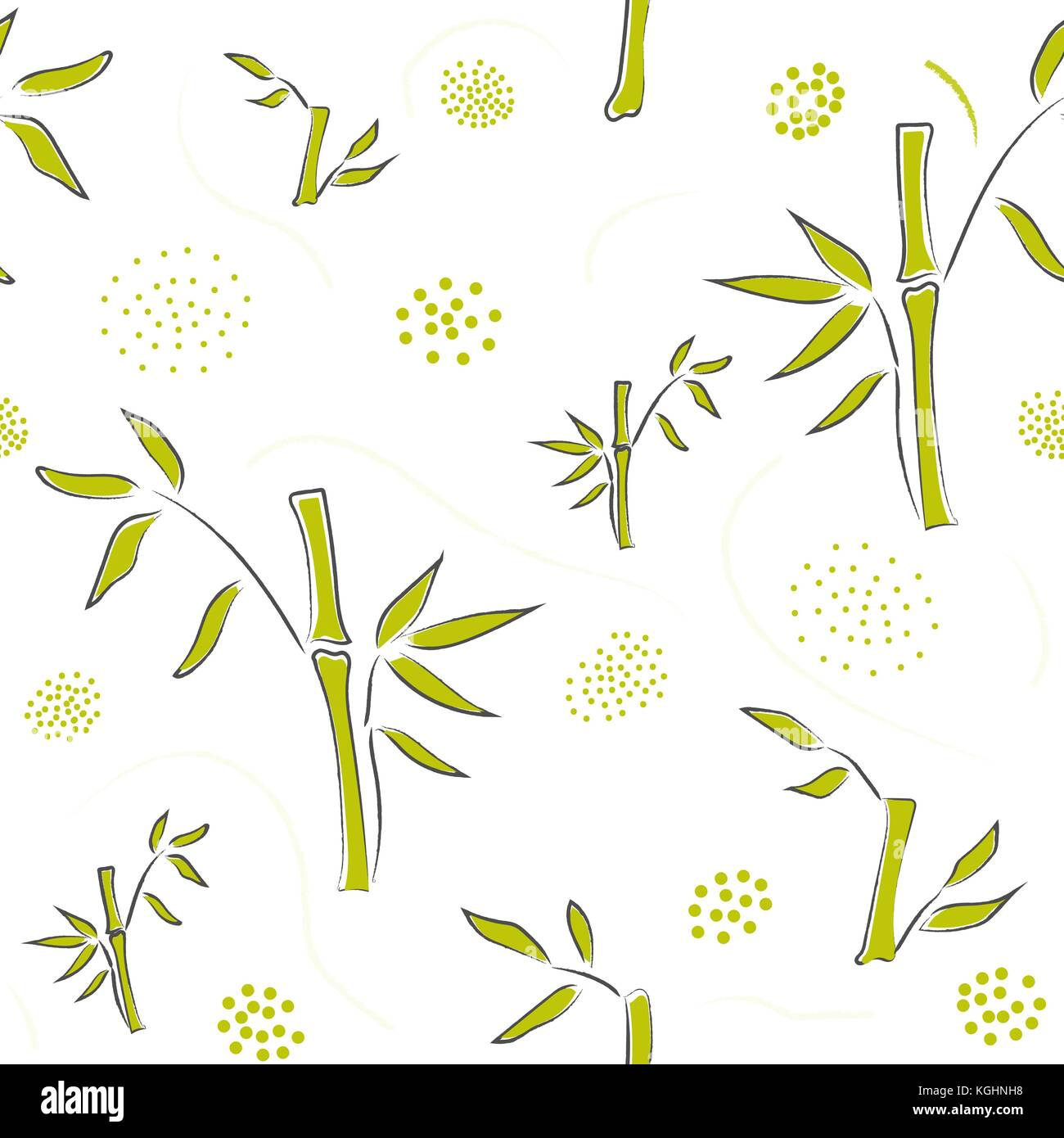 seamless pattern with hand drawn bamboo on modern dotted background
