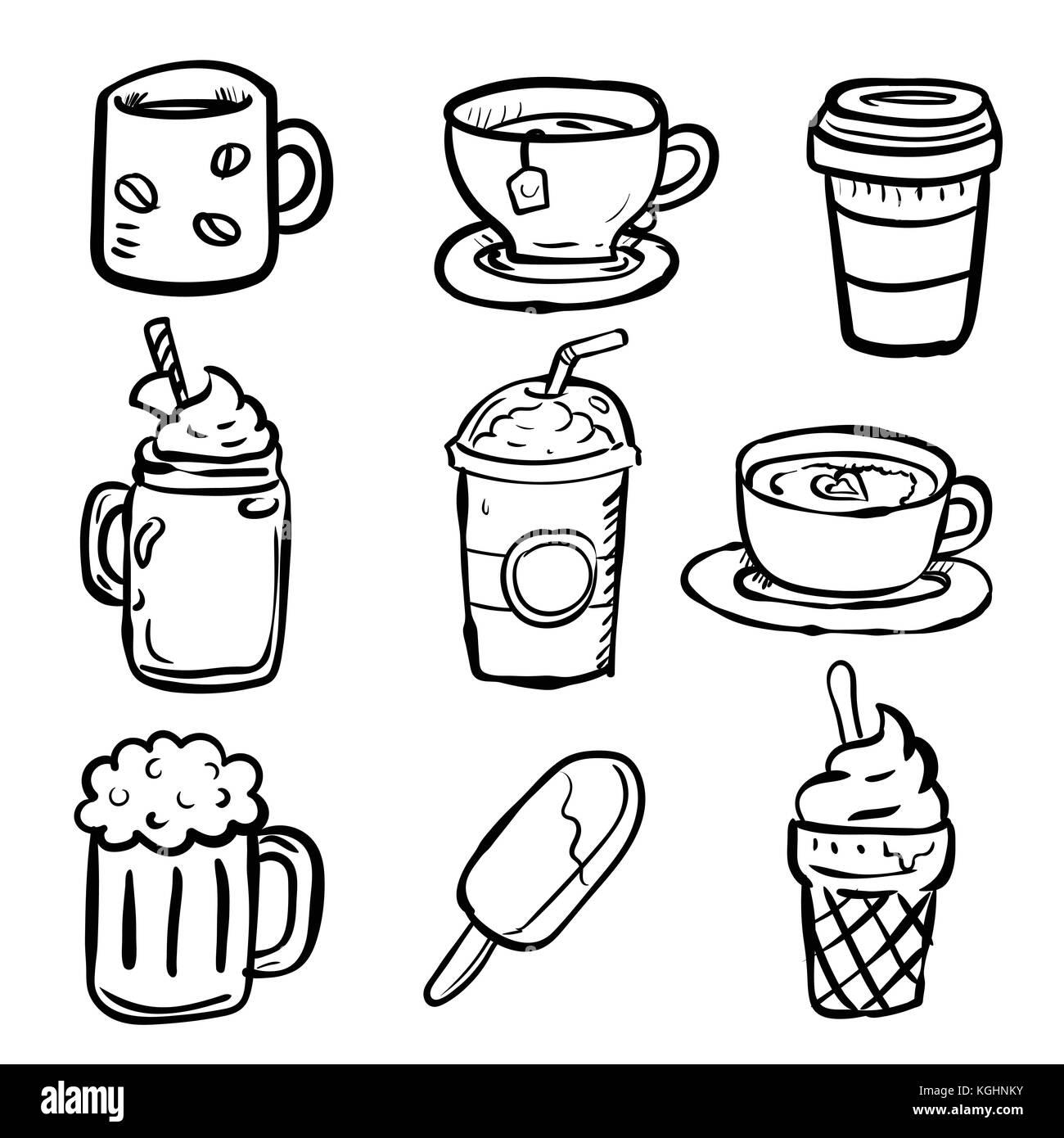 Set Beverages Doodle Hot Drink Coffee Tea Beer Cup And Stock Vector Image Art Alamy